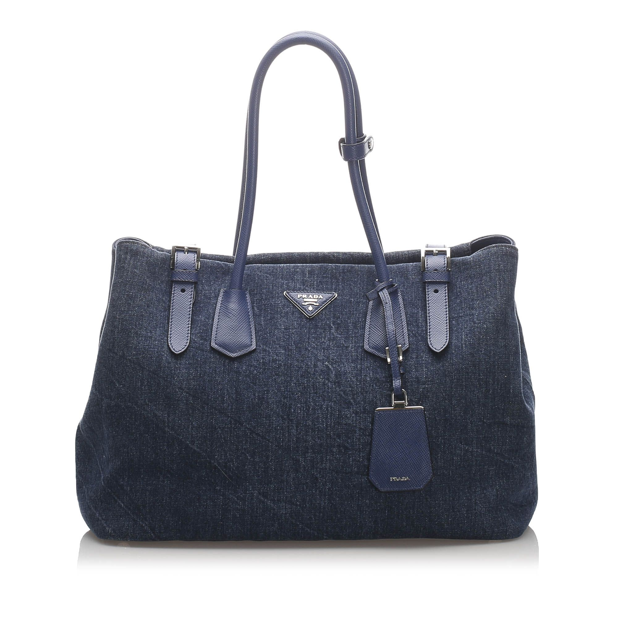 Vintage Prada Denim Tote Bag Blue