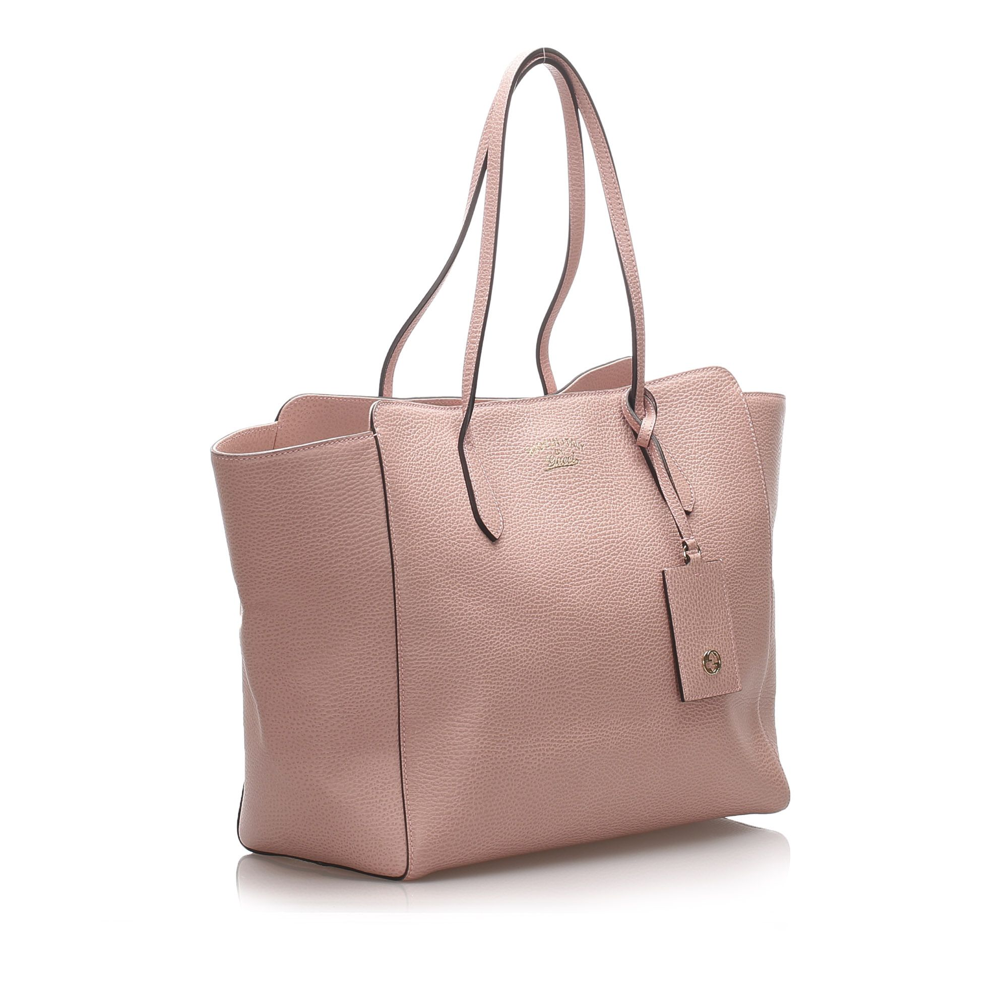 Vintage Gucci Leather Swing Tote Bag Pink