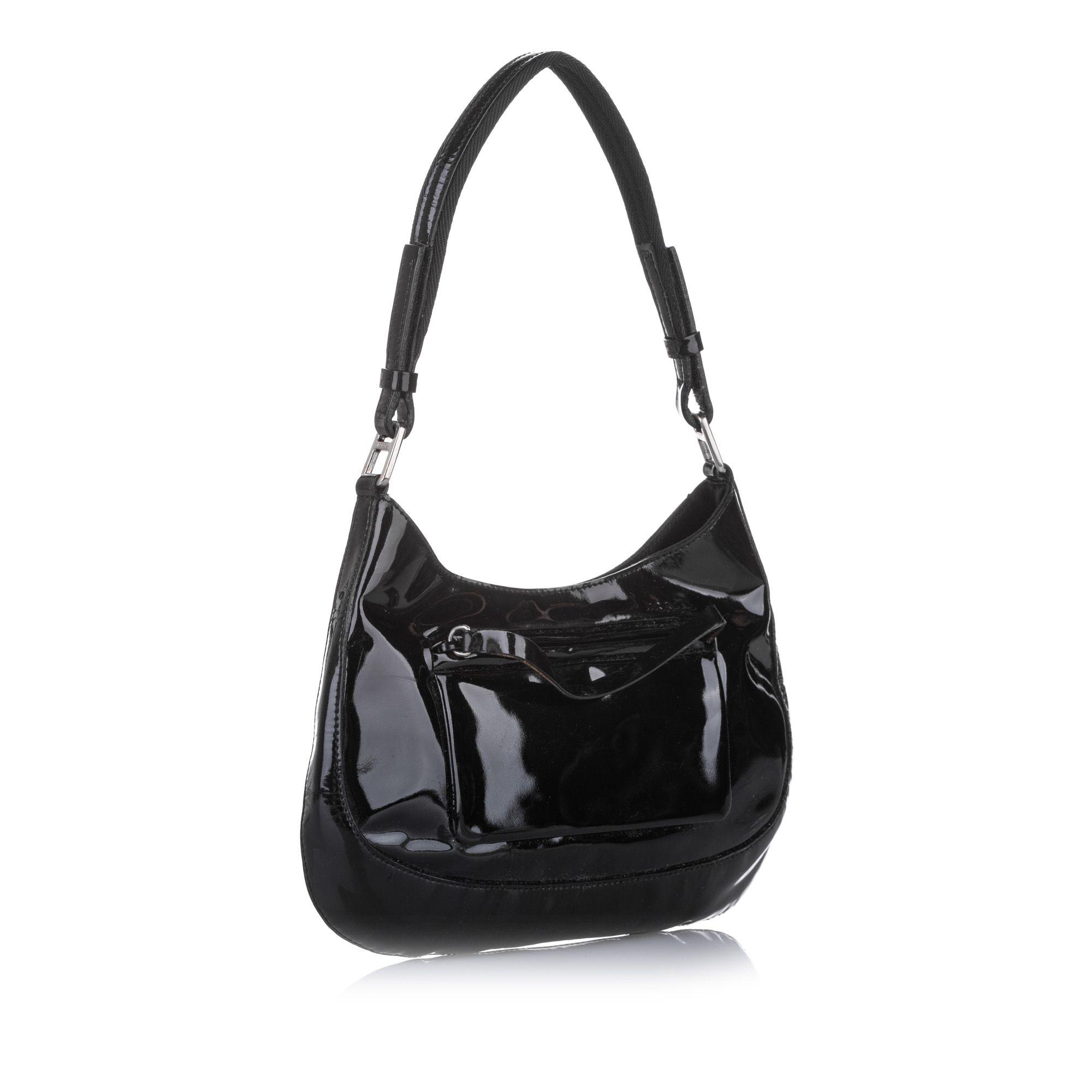 Vintage Prada Patent Leather Baguette Black