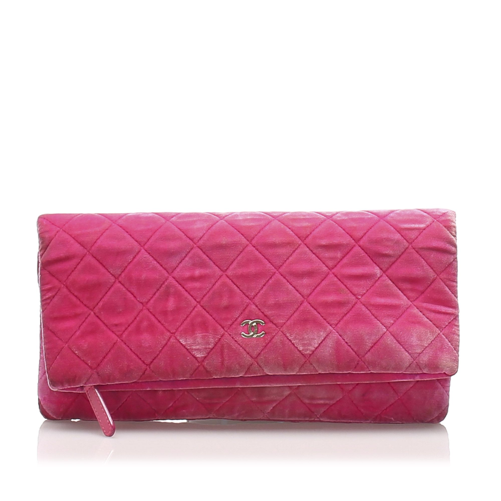 Vintage Chanel Matelasse Velour Clutch Bag Pink