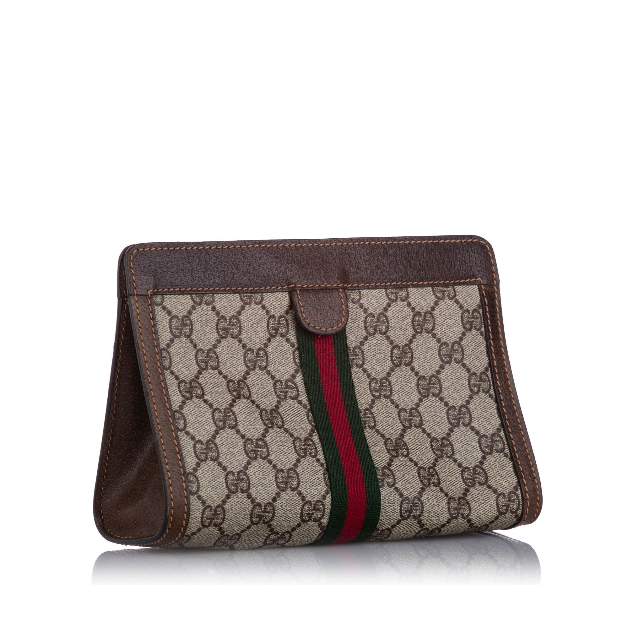 Vintage Gucci GG Supreme Web Clutch Bag Brown