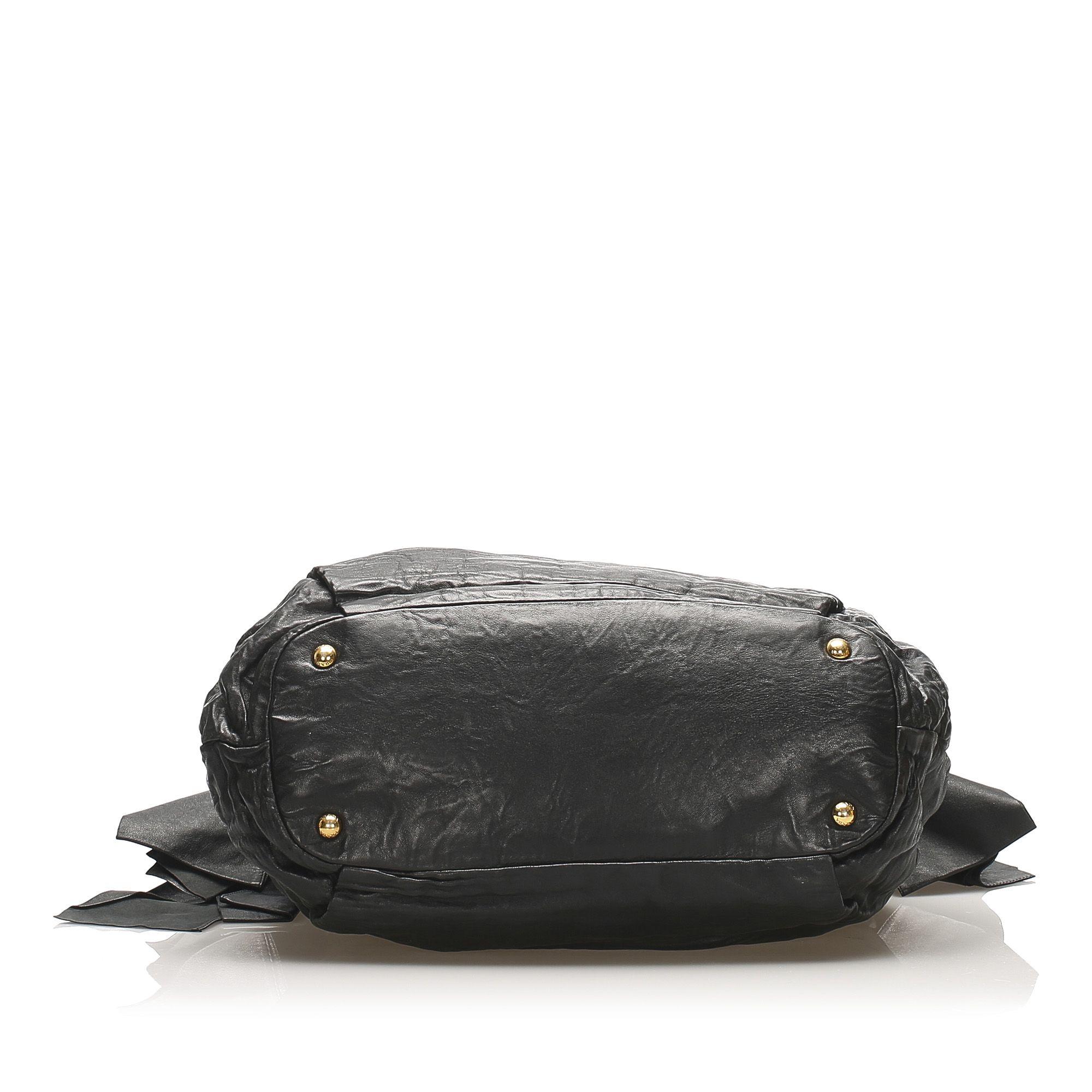 Vintage Prada Ribbon Leather Satchel Black