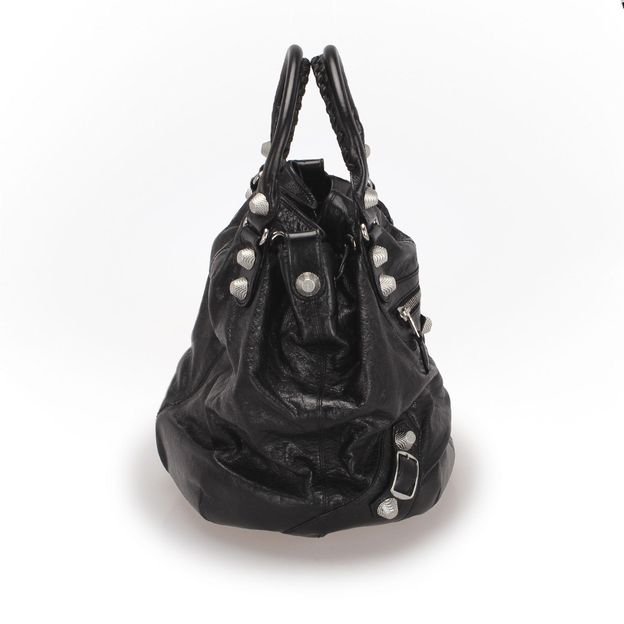Vintage Balenciaga Motocross Giant Pompon Leather Bucket Bag Black