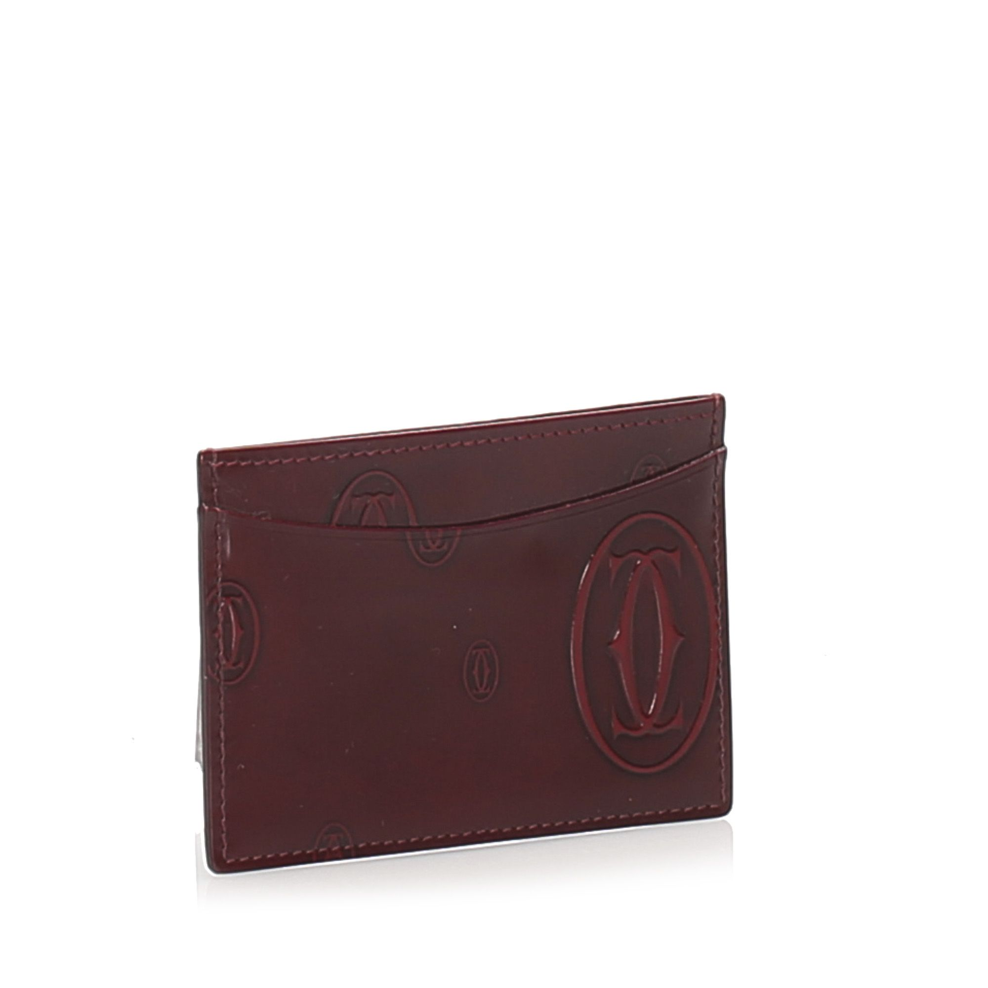 Vintage Cartier Happy Birthday Patent Leather Card Holder Red