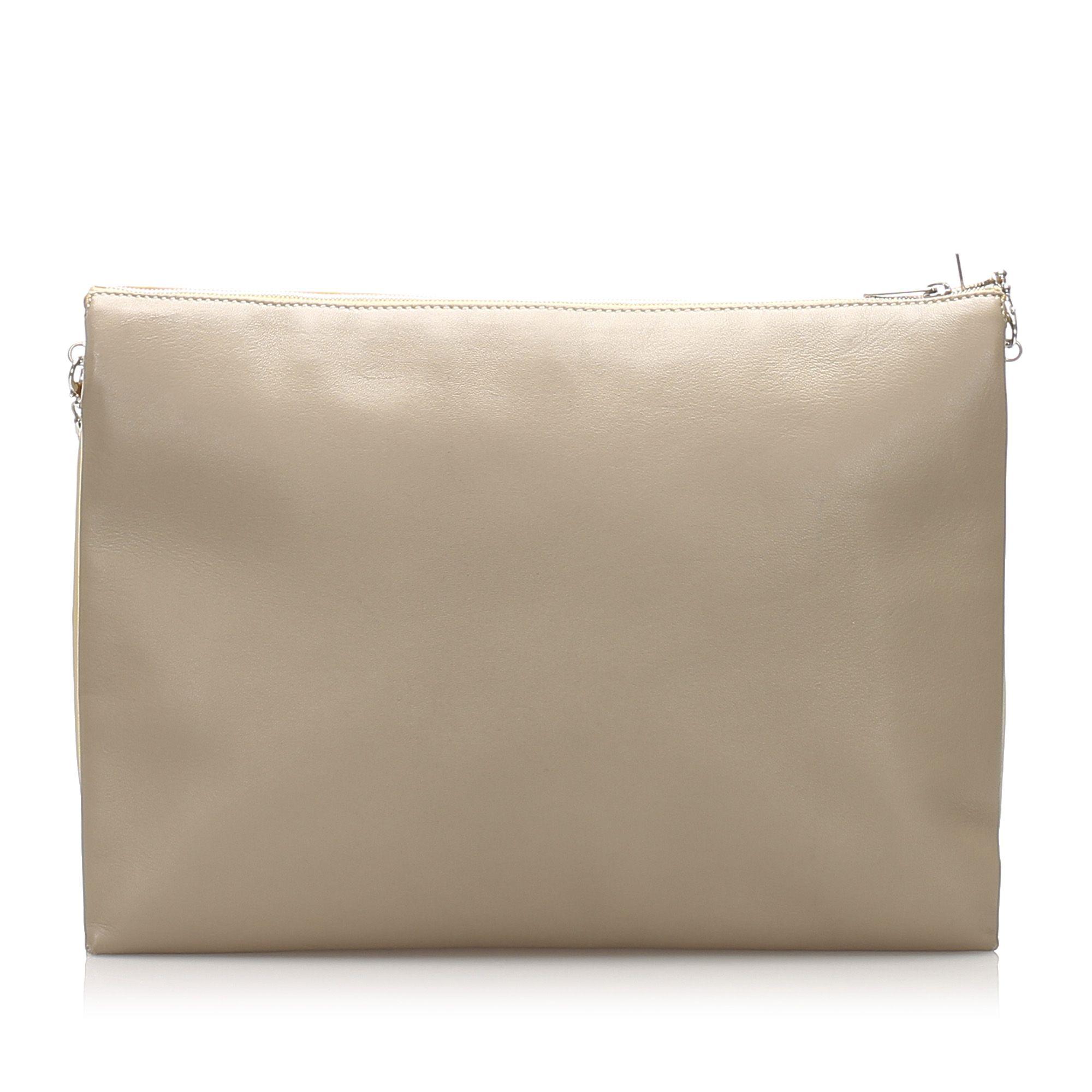 Vintage Celine Trio Chain Leather Shoulder Bag Yellow