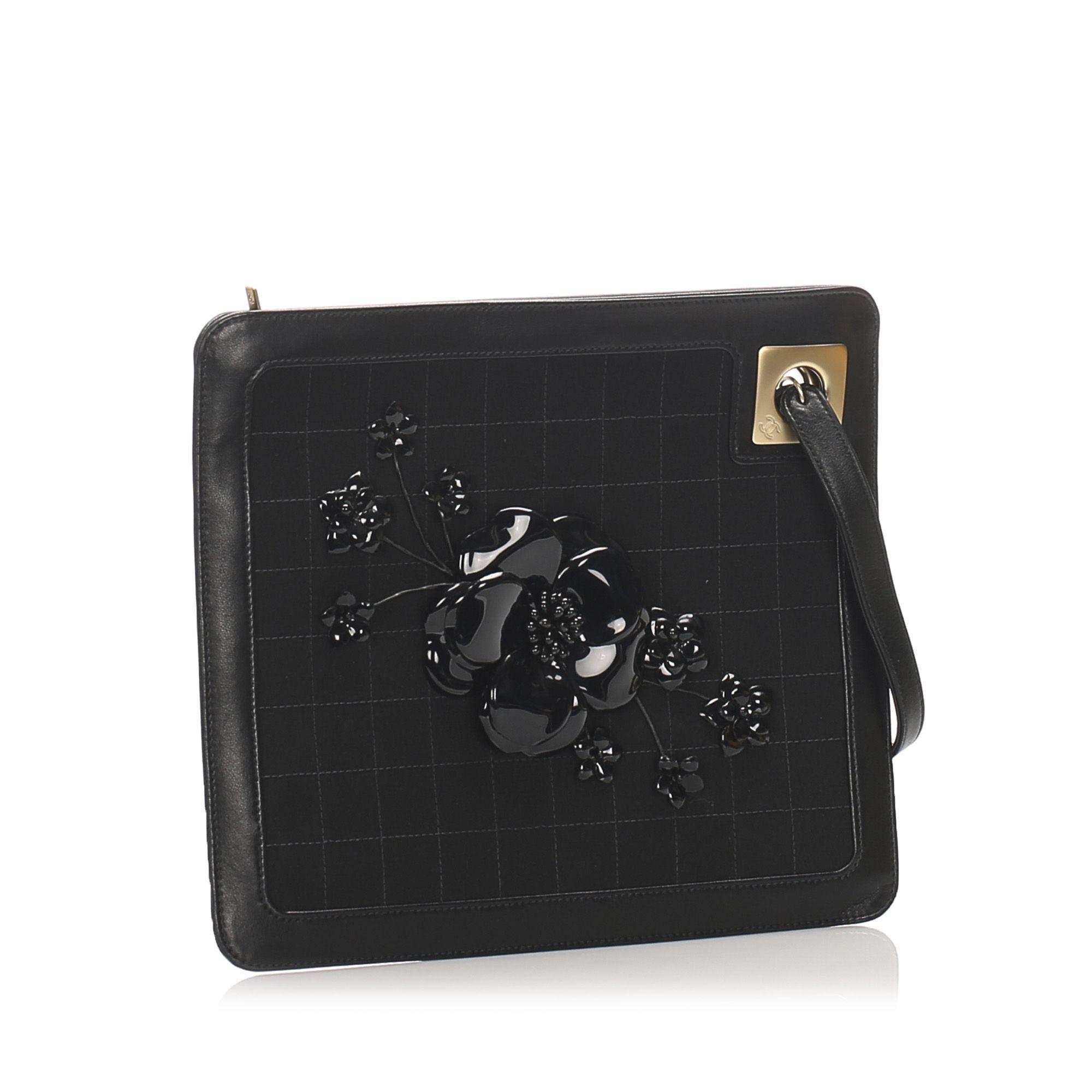 Vintage Chanel Choco Bar Camellia Suede Clutch Bag Black