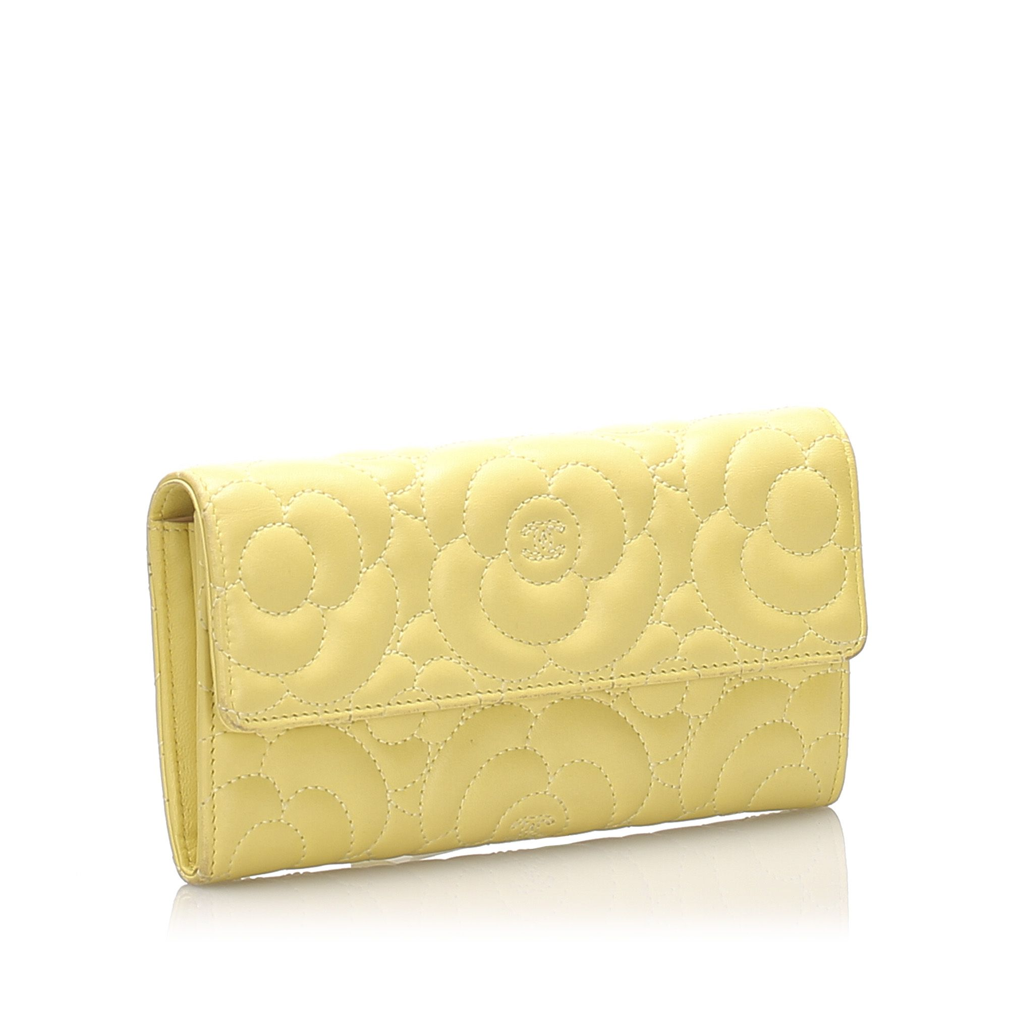Vintage Chanel Camellia Lambskin Leather Flap Wallet Yellow