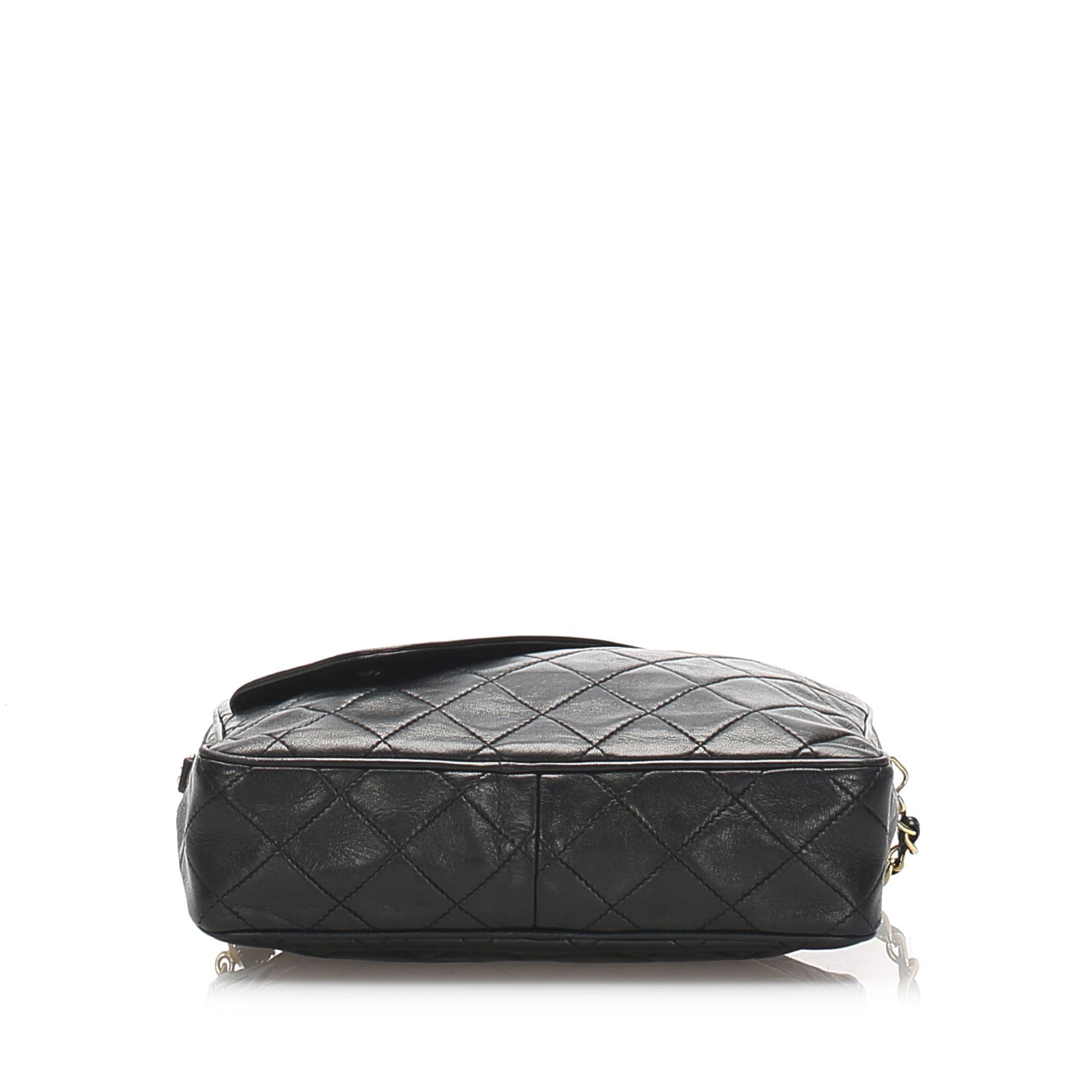 Vintage Chanel Matelasse Lambskin Chain Shoulder Bag Black
