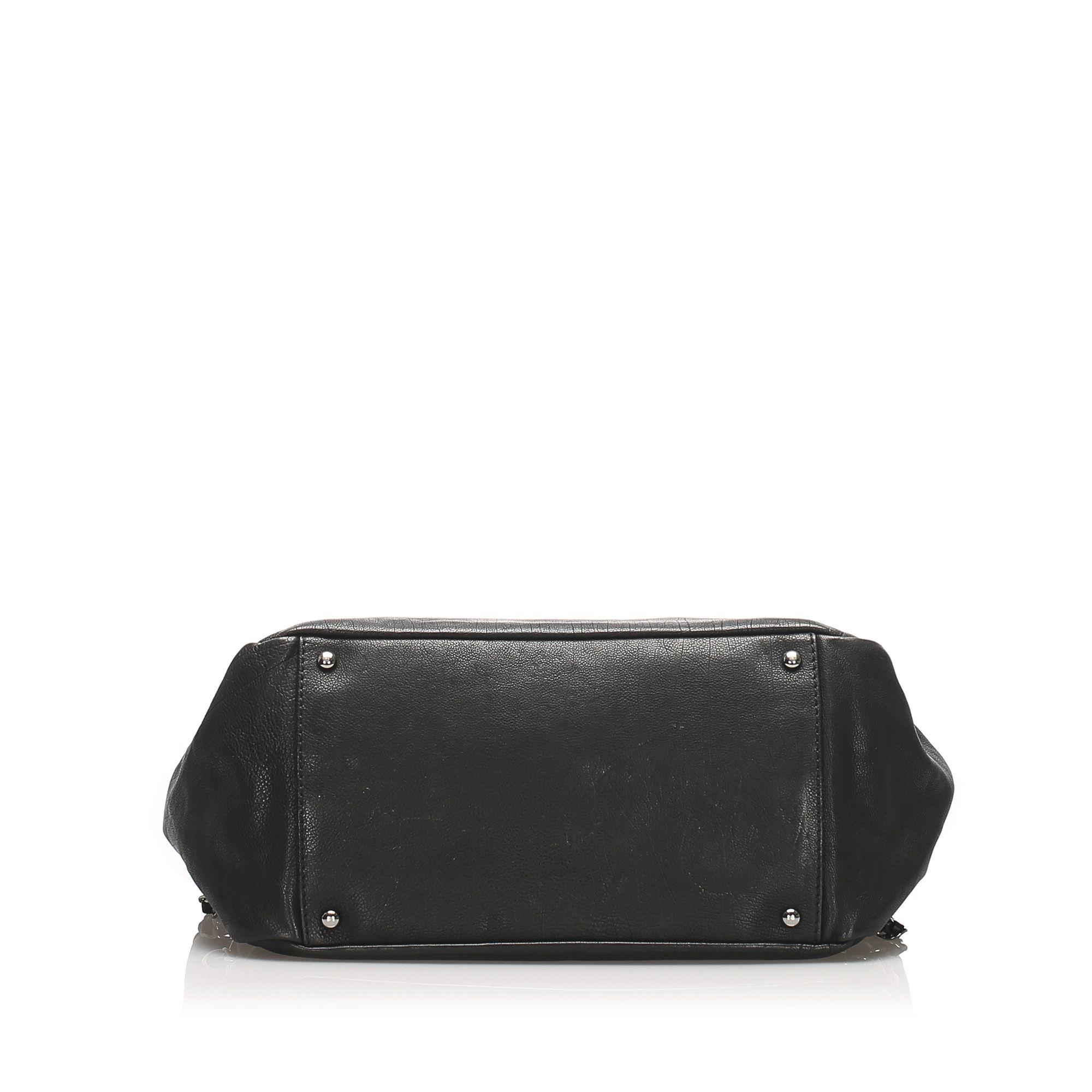 Vintage Chanel Accordion Leather Flap Bag Black