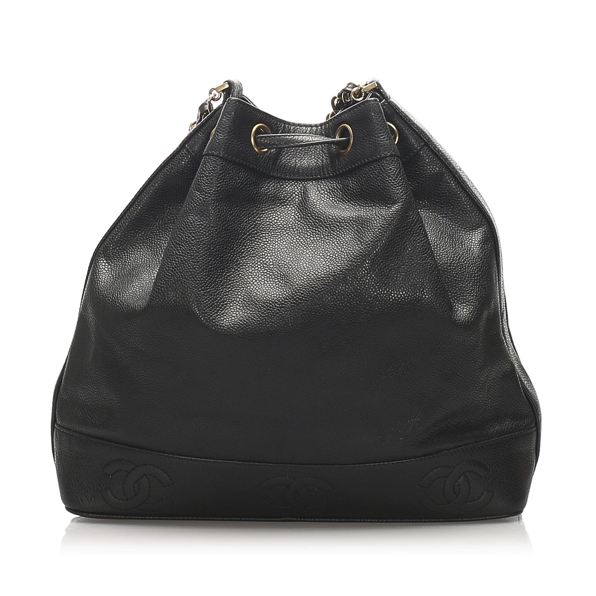 Vintage Chanel CC Lambskin Leather Bucket Bag Black