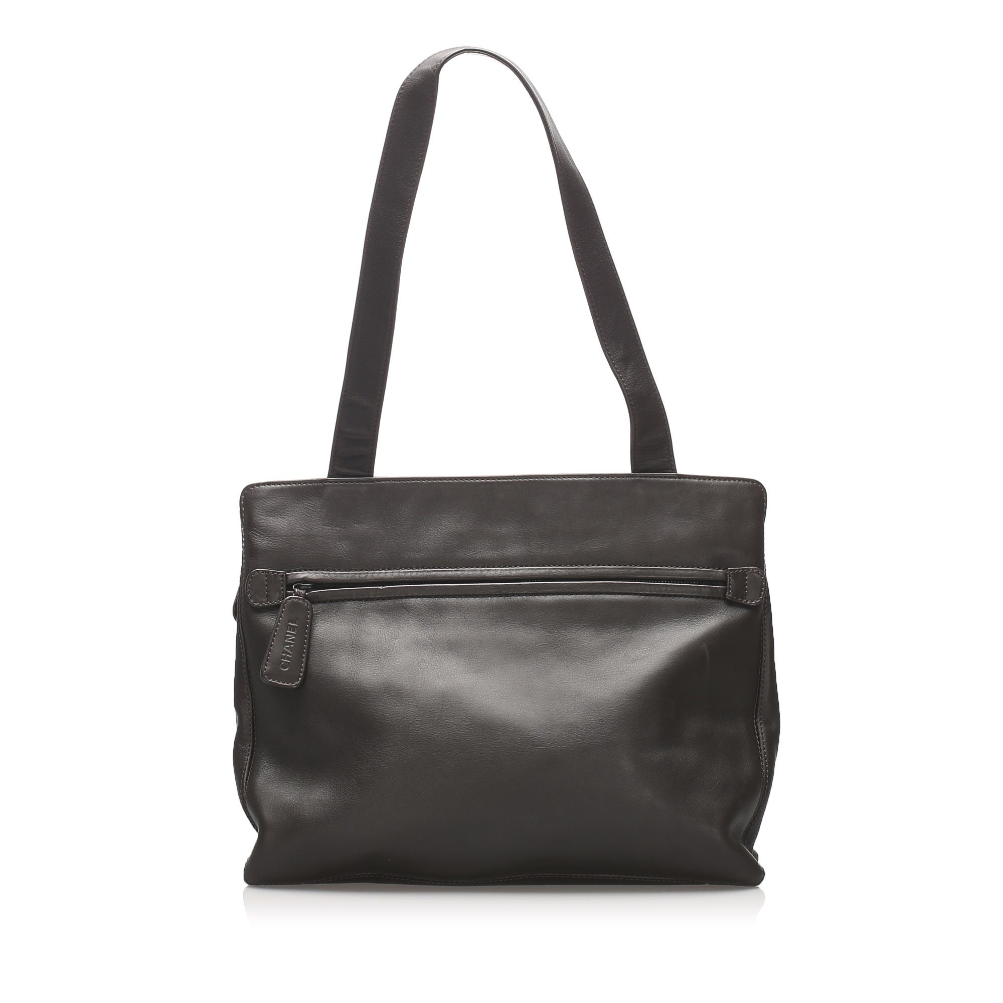 Vintage Chanel CC Lambskin Leather Tote Bag Black