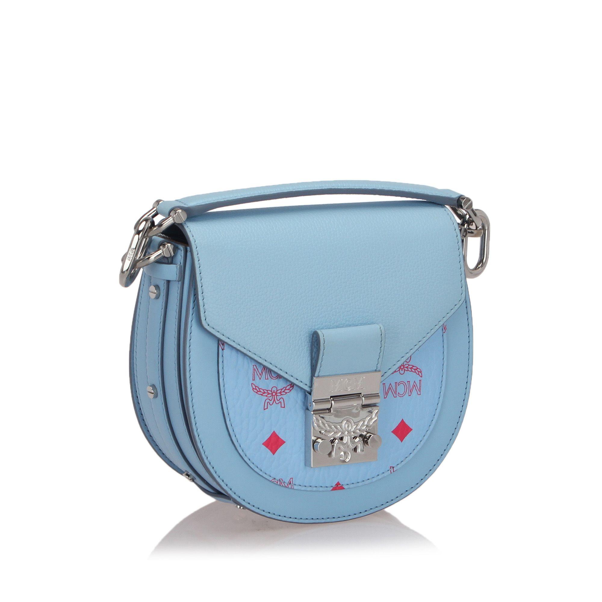 Vintage MCM Mini Visetos Patricia Crossbody Bag Blue