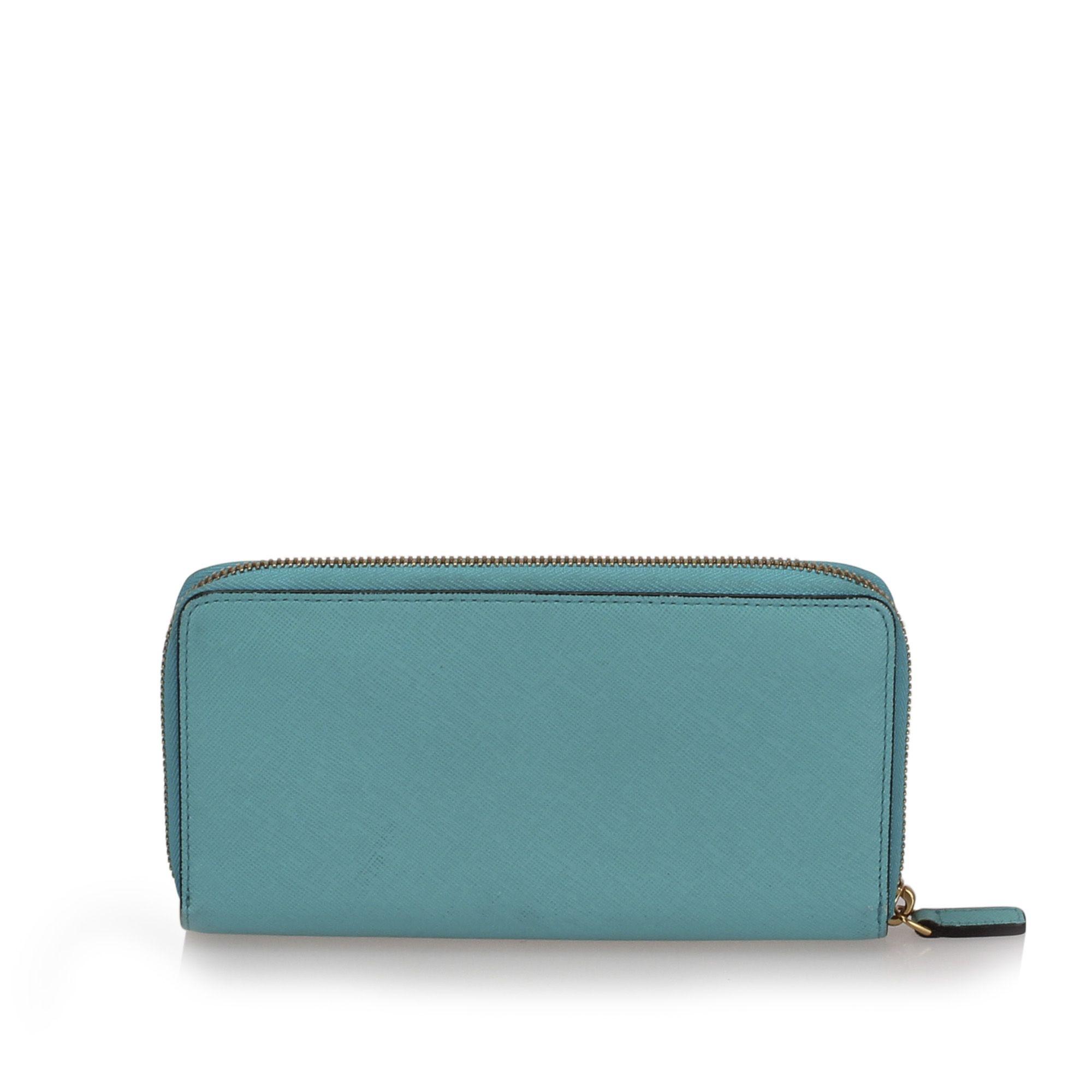 Vintage MCM Leather Zip Around Wallet Blue