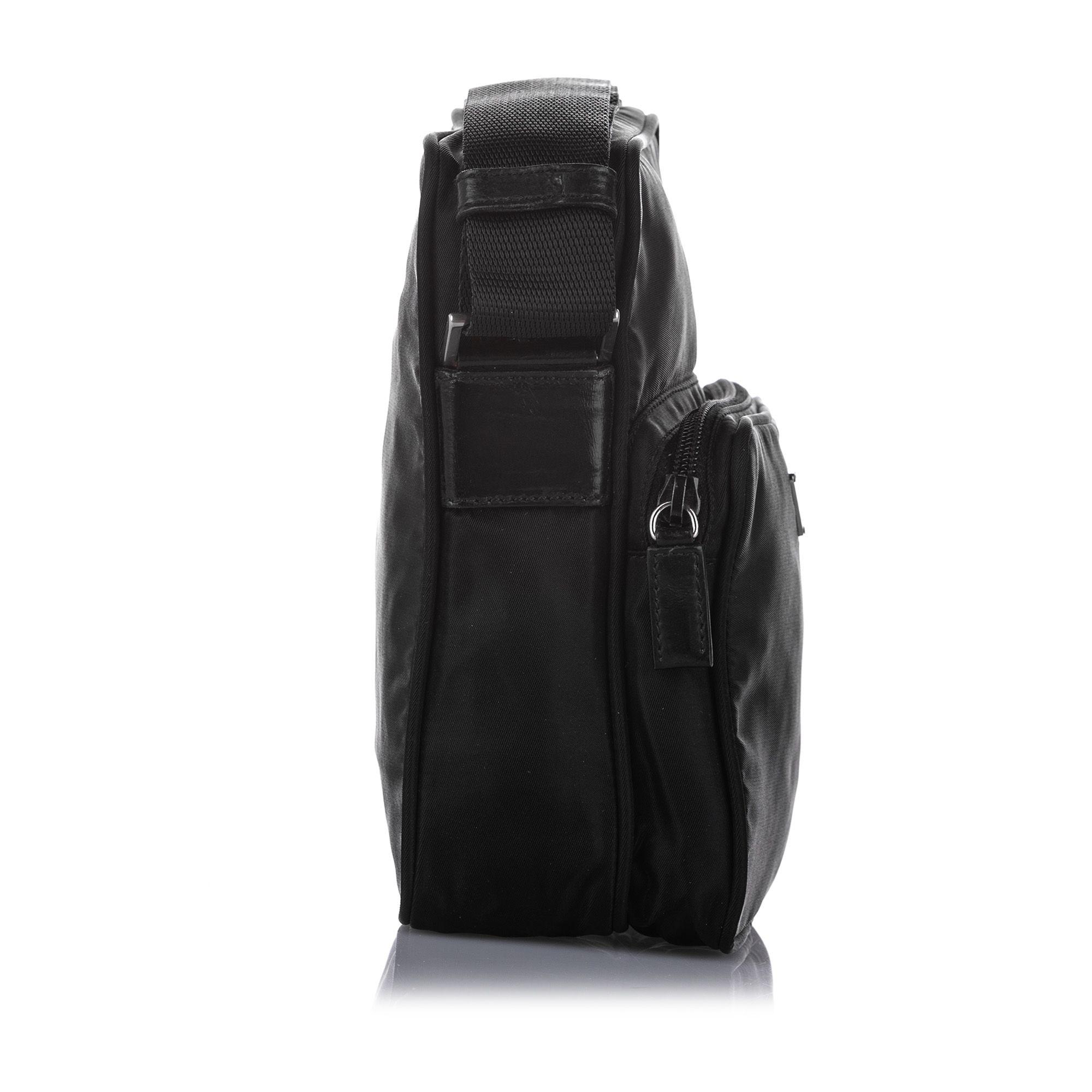 Vintage Prada Tessuto Crossbody Bag Black