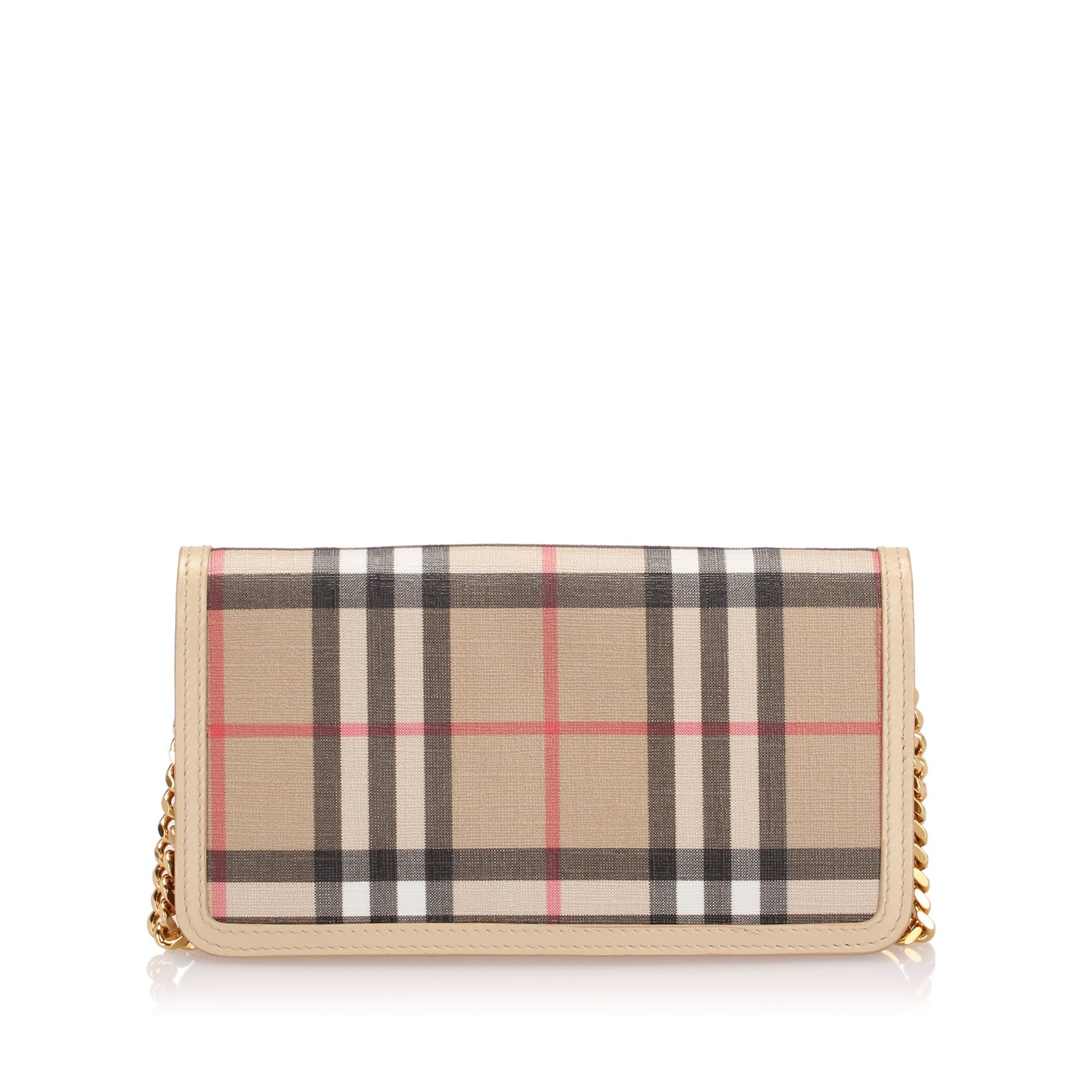 Vintage Burberry House Check Coated Canvas Wallet On Chain Brown