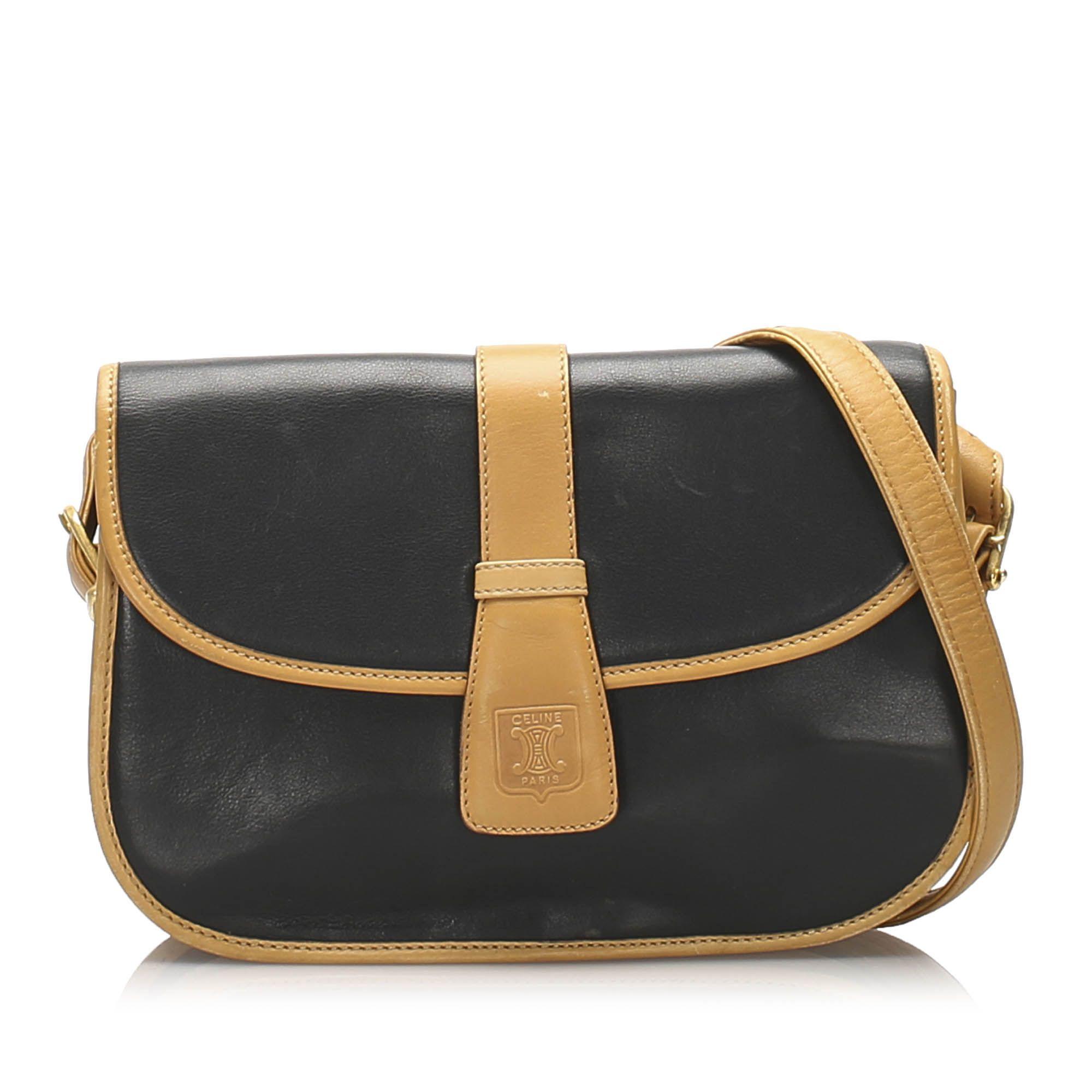 Vintage Celine Leather Crossbody Bag Blue