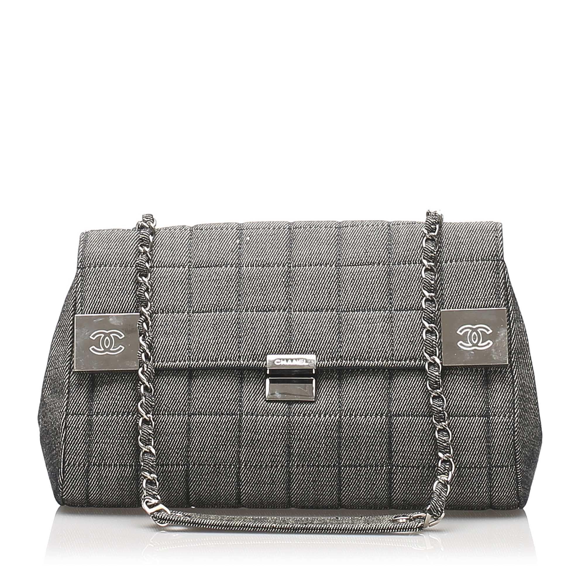 Vintage Chanel Choco Bar Denim Flap Bag Gray