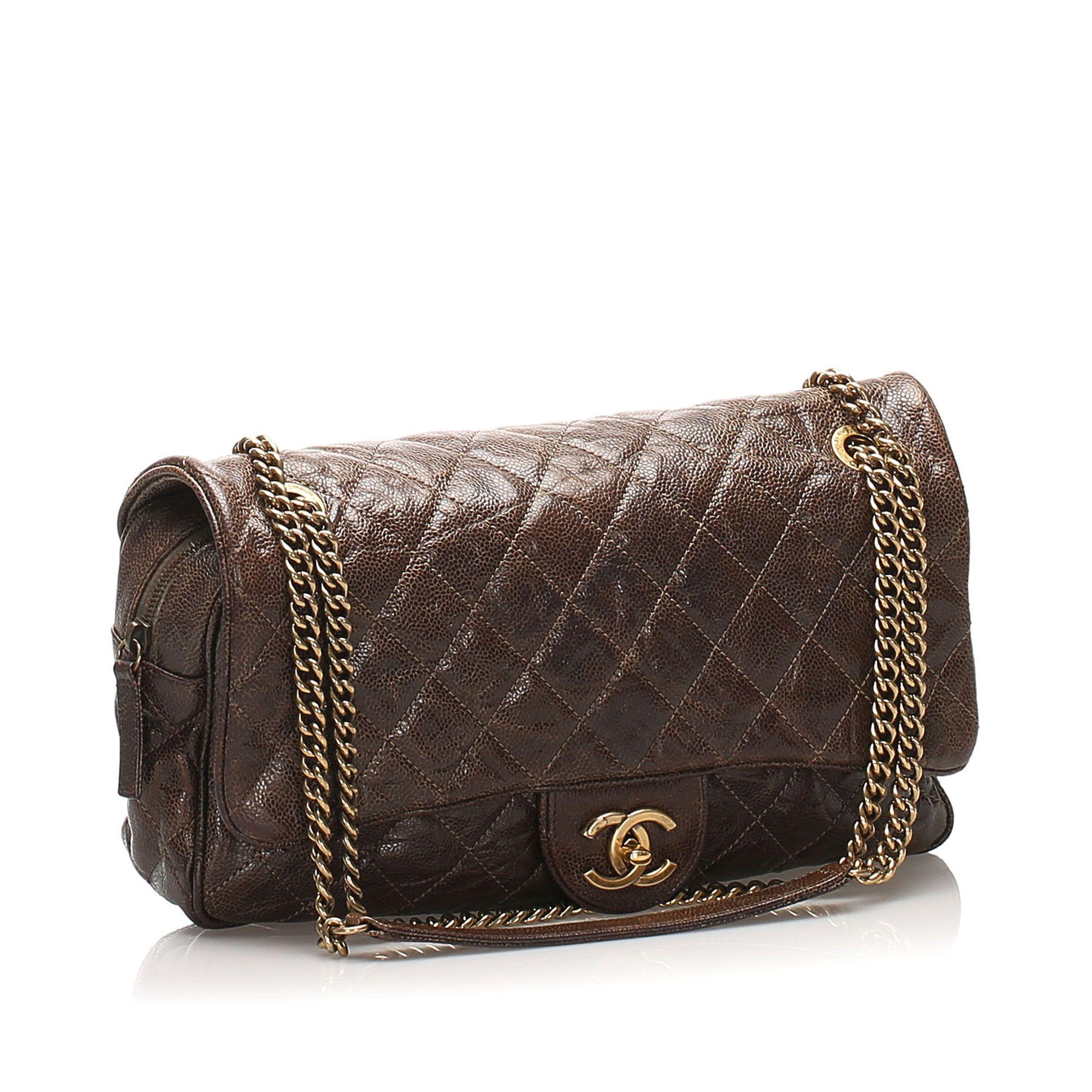 Vintage Chanel CC Timeless Caviar Shoulder Bag Brown