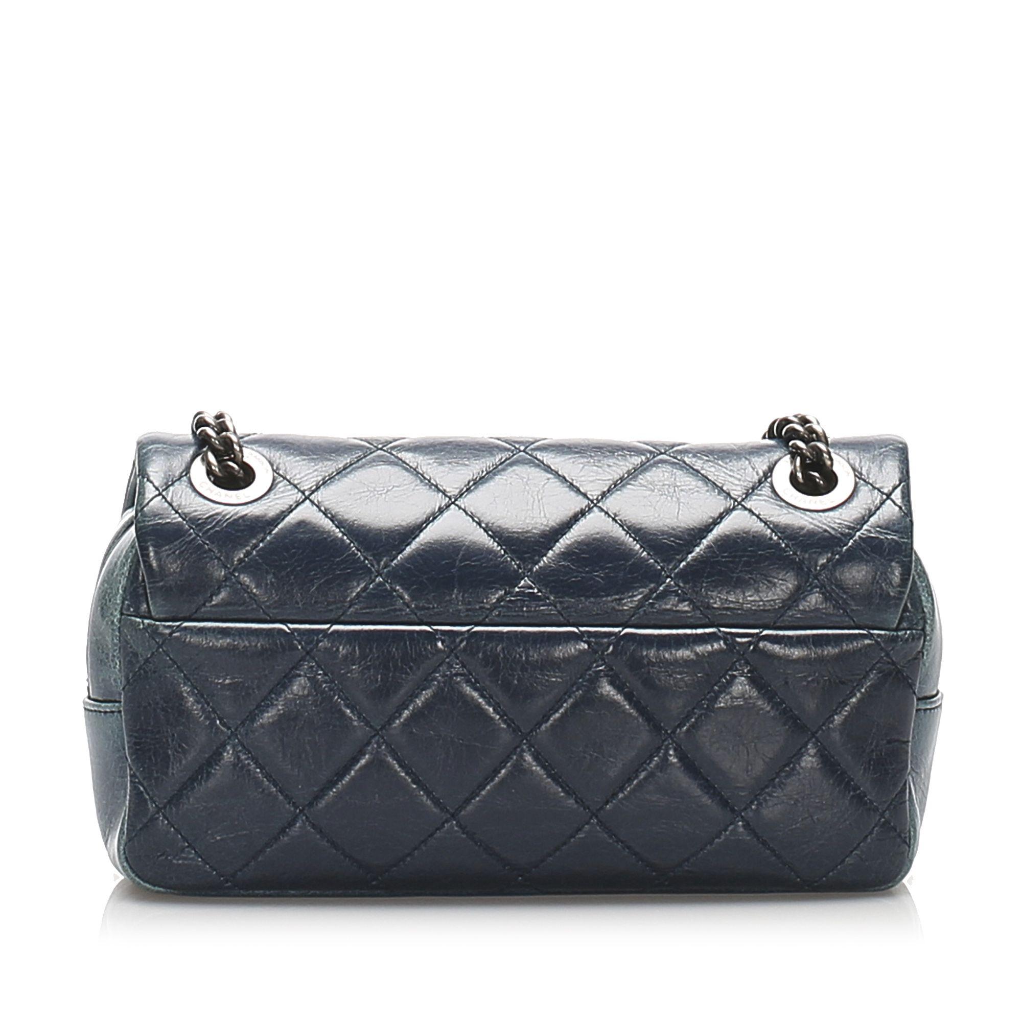 Vintage Chanel Mini Matelasse Leather Flap Shoulder Bag Blue