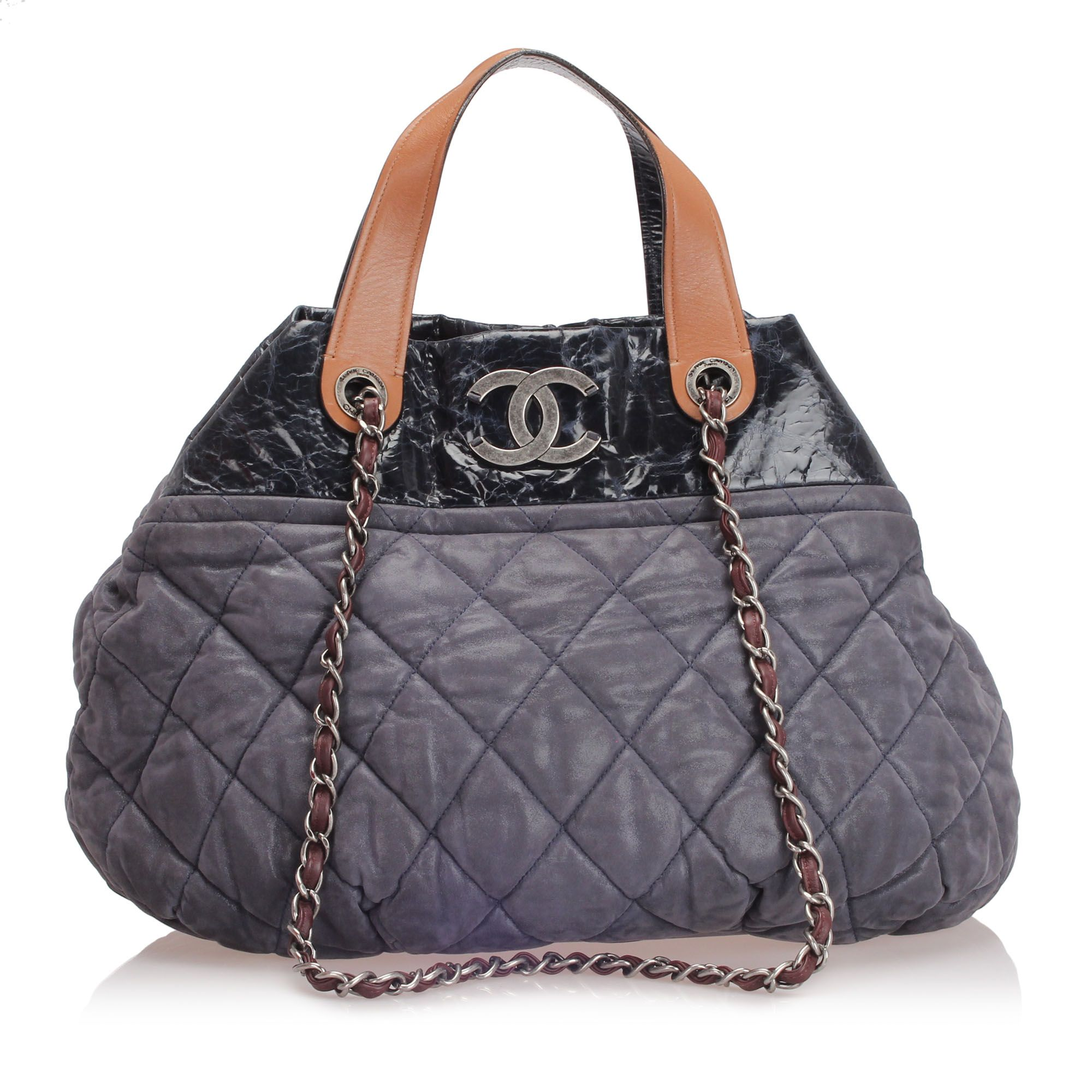 Vintage Chanel In The Mix Lambskin Leather Satchel Black