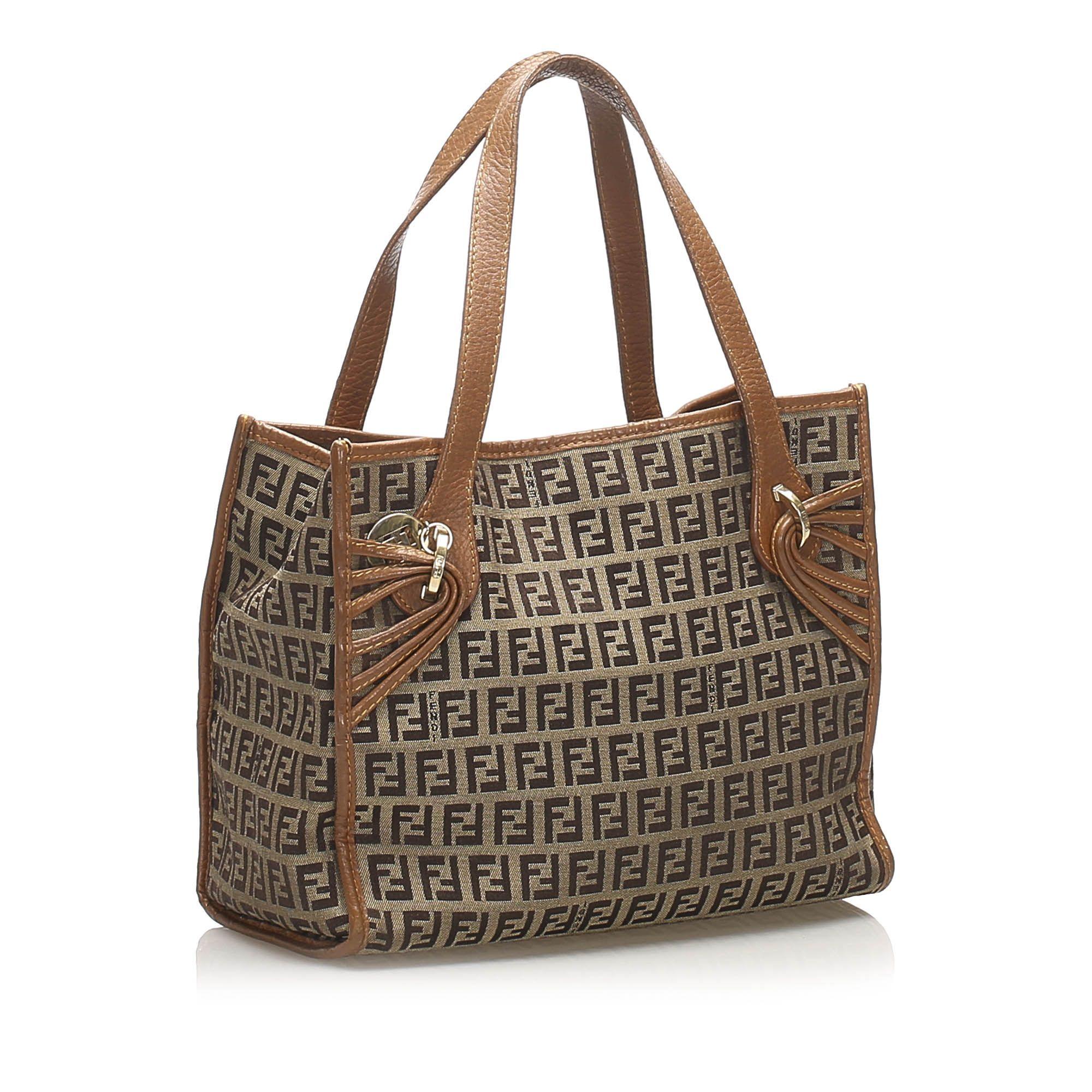 Vintage Fendi Zucchino Canvas Handbag Brown