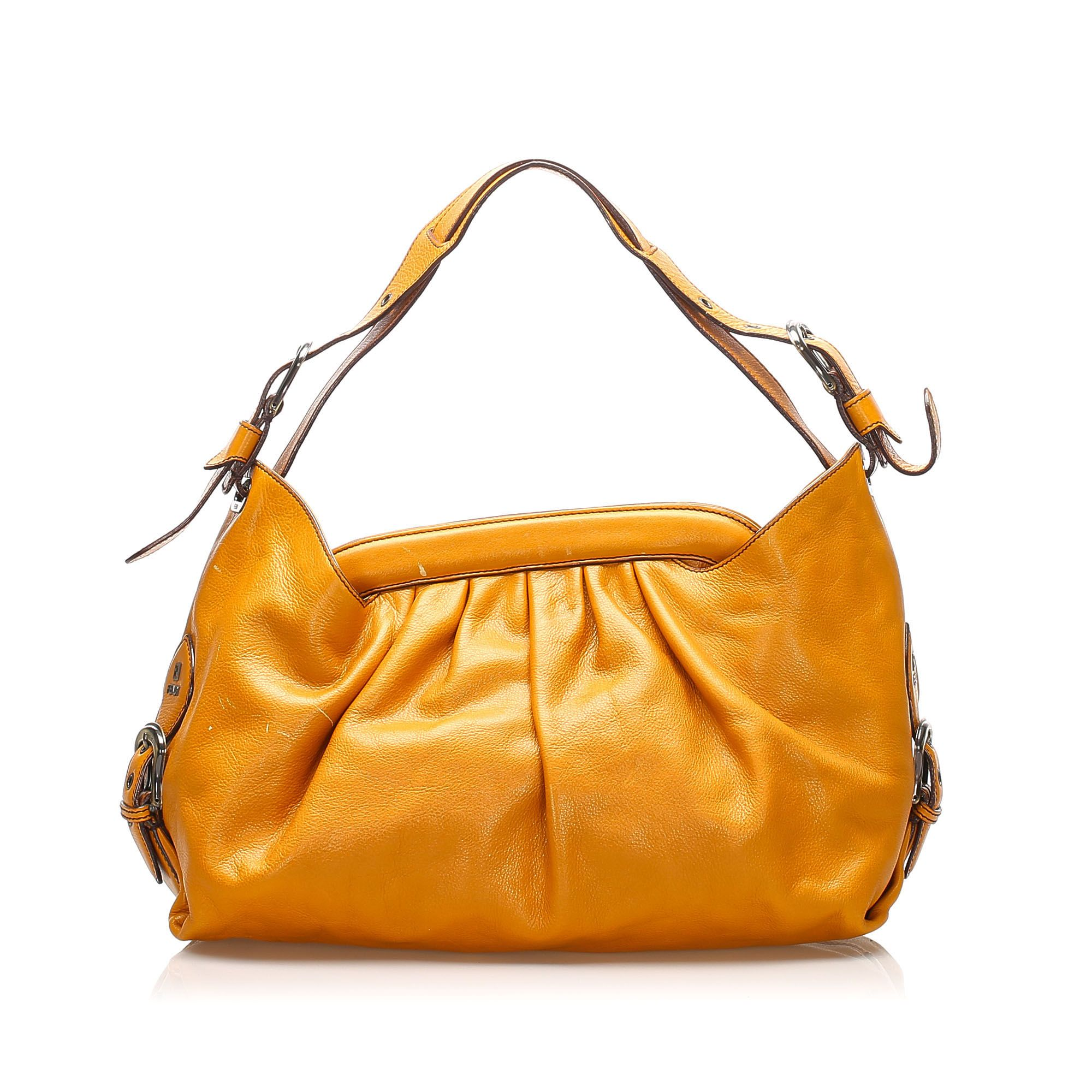 Vintage Fendi Borsa Doctor Leather Shoulder Bag Orange