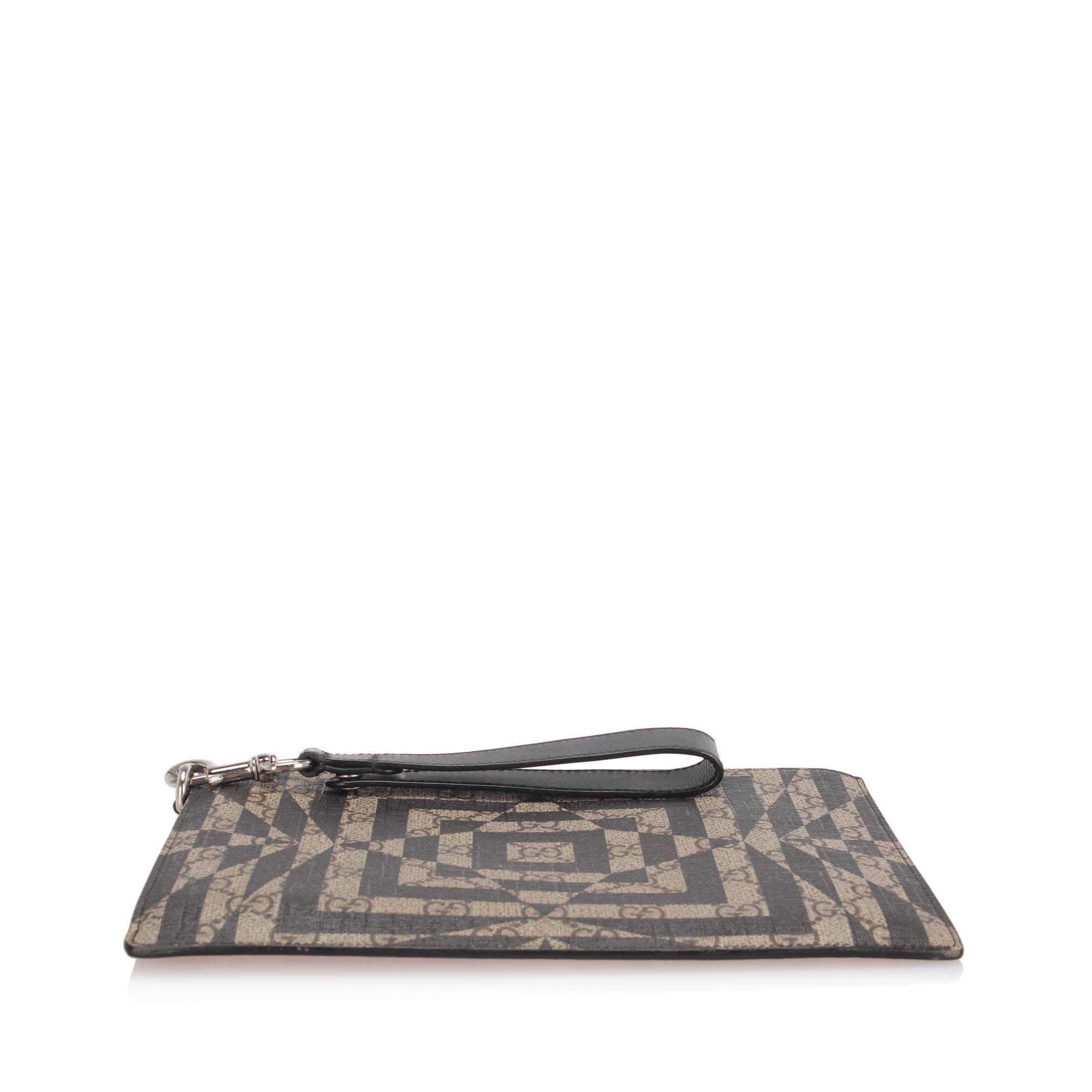 Vintage Gucci GG Supreme Caleido Clutch Bag Brown