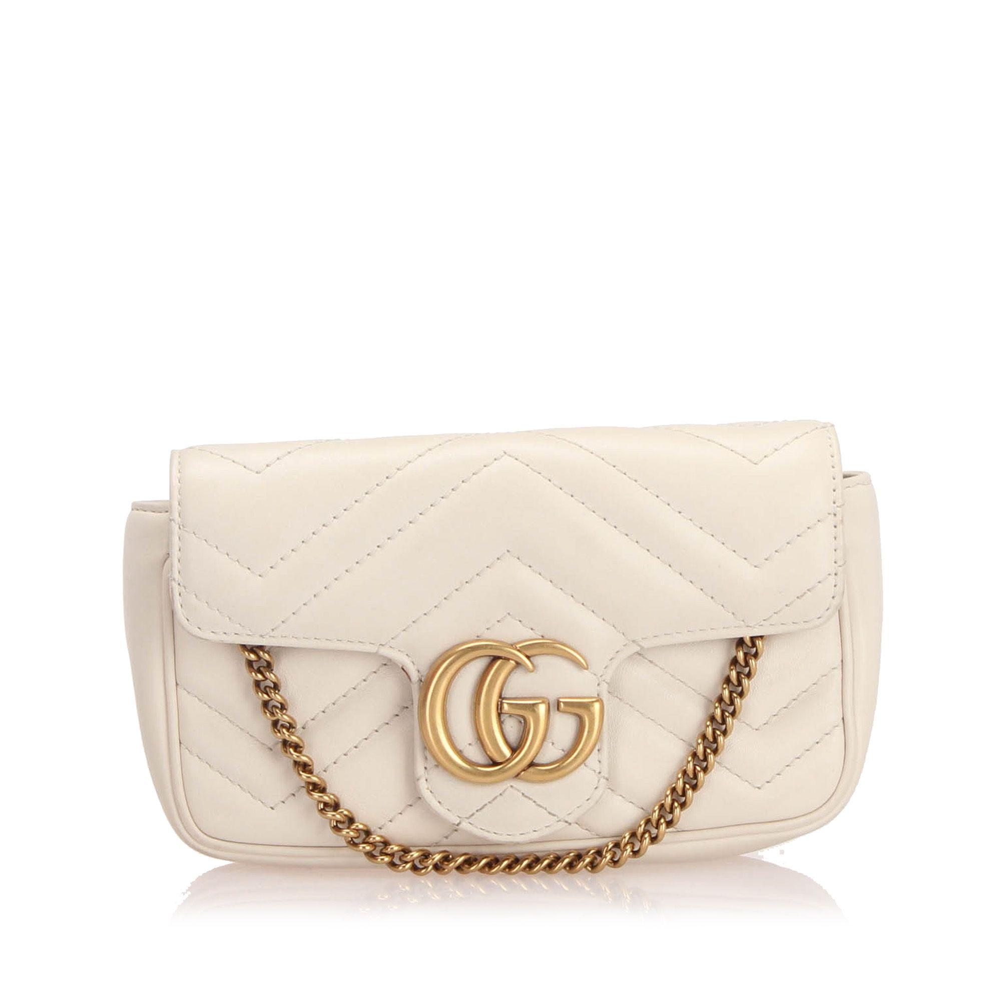 Vintage Gucci Mini GG Marmont Matelasse Leather Crossbody Bag White