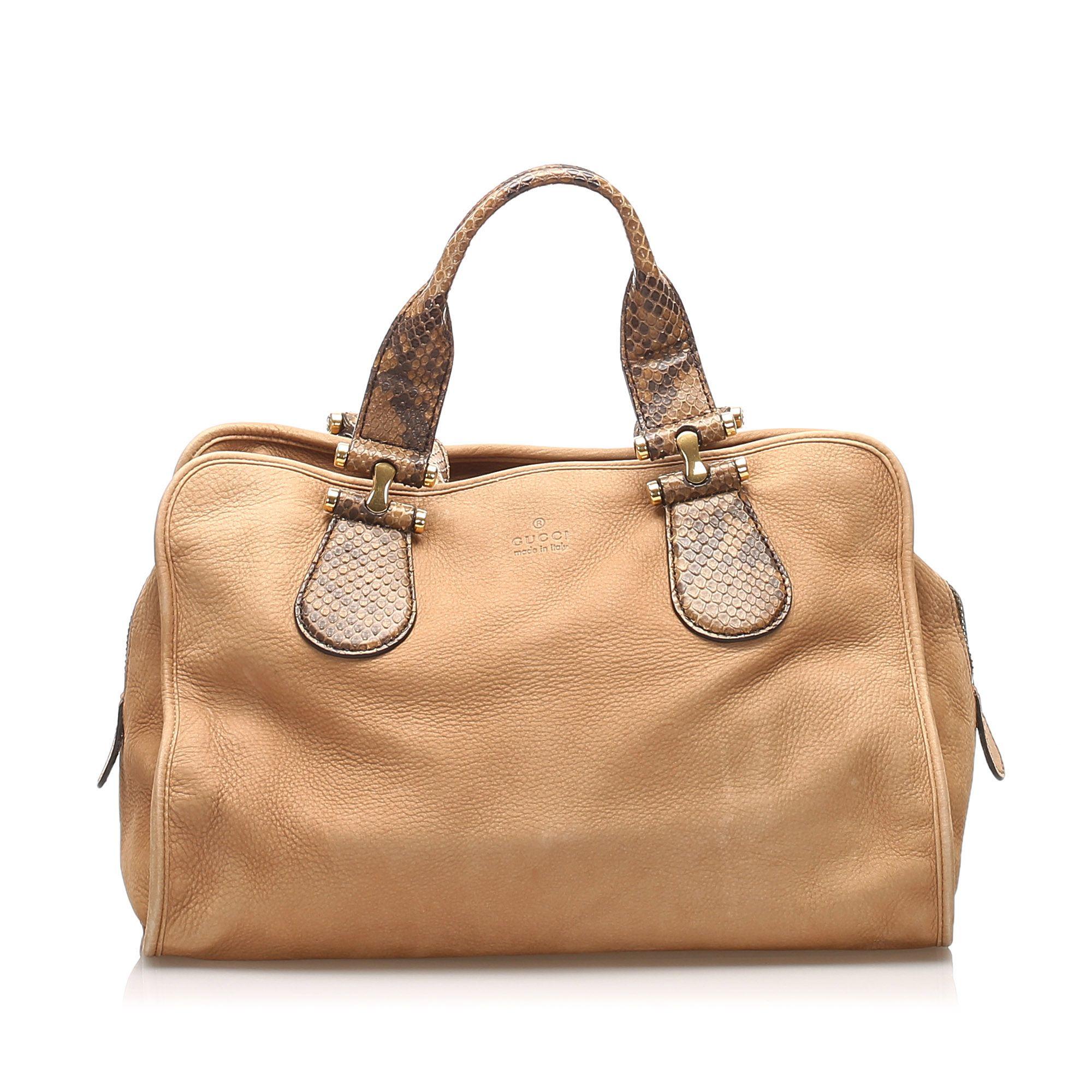 Vintage Gucci Twice Nubuck Leather Handbag Brown