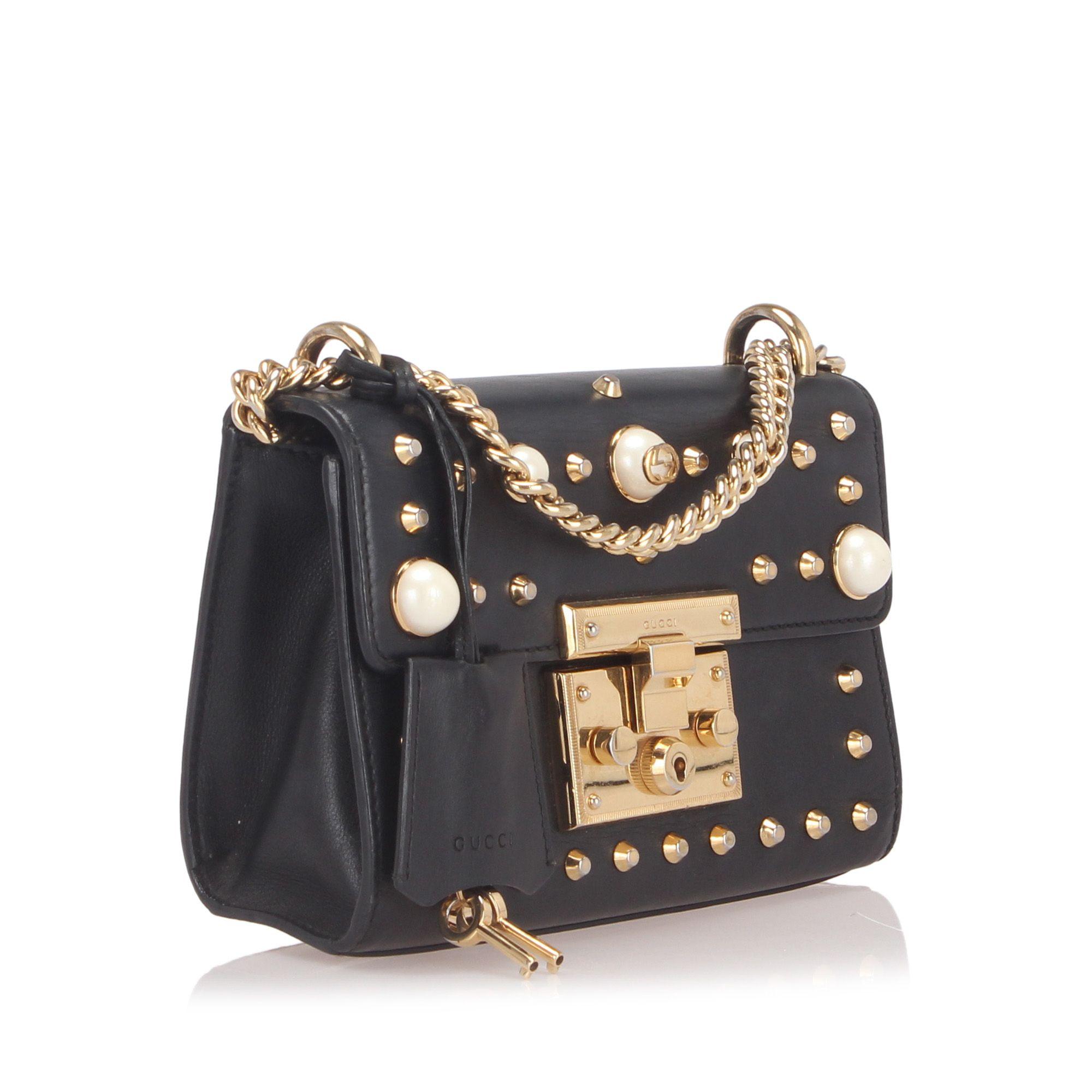 Vintage Gucci Small Studded Padlock Leather Shoulder Bag Black