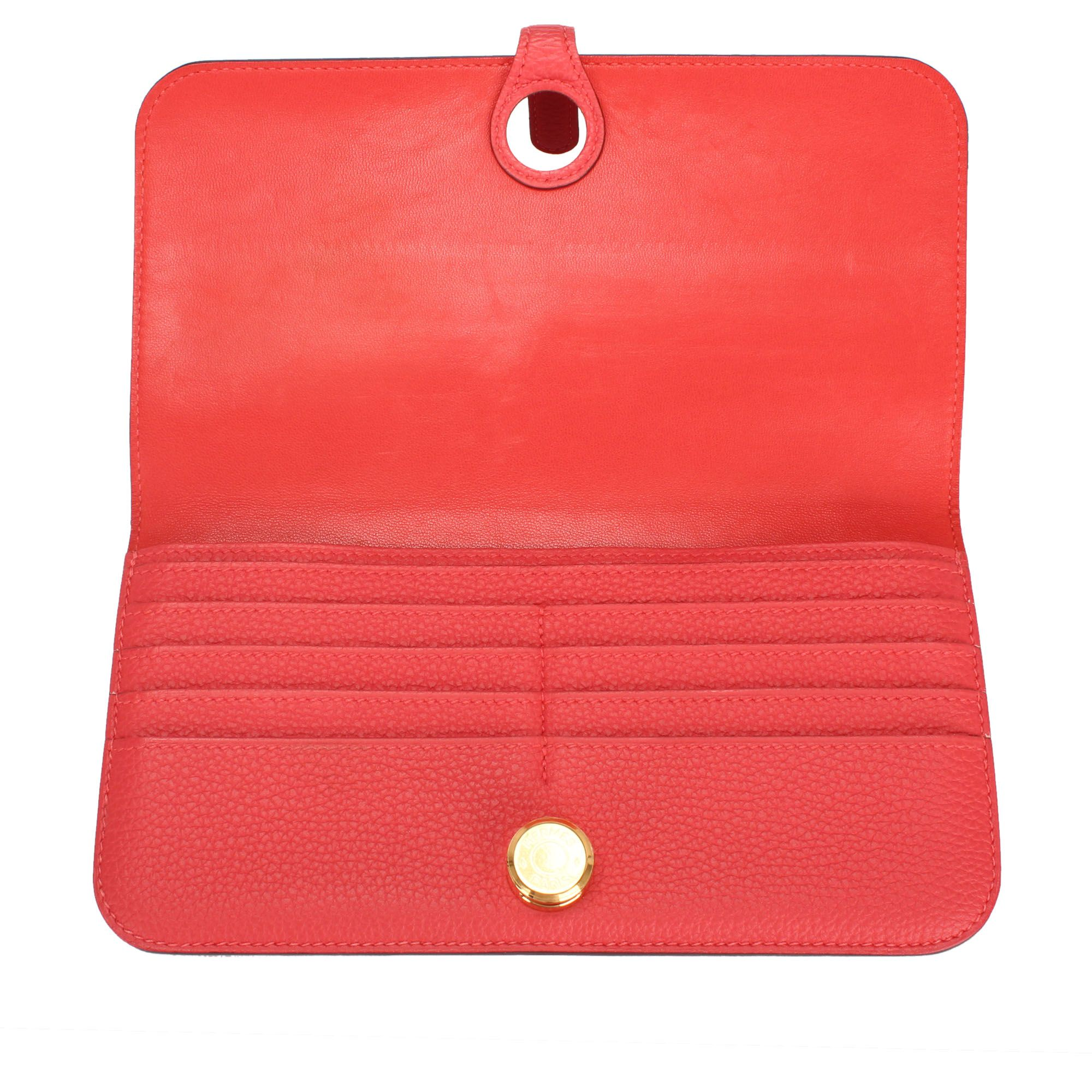 Vintage Hermes Clemence Dogon Long Wallet Red