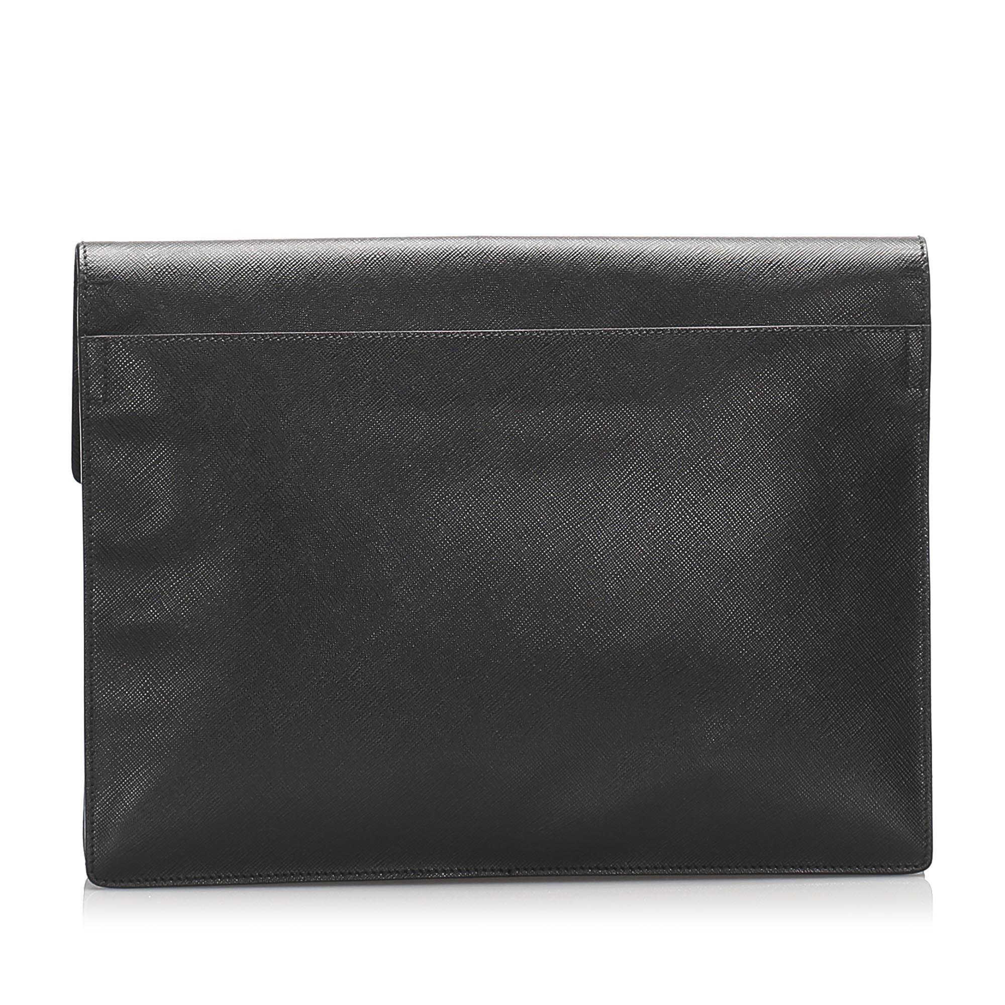Vintage Prada Saffiano Clutch Bag Black