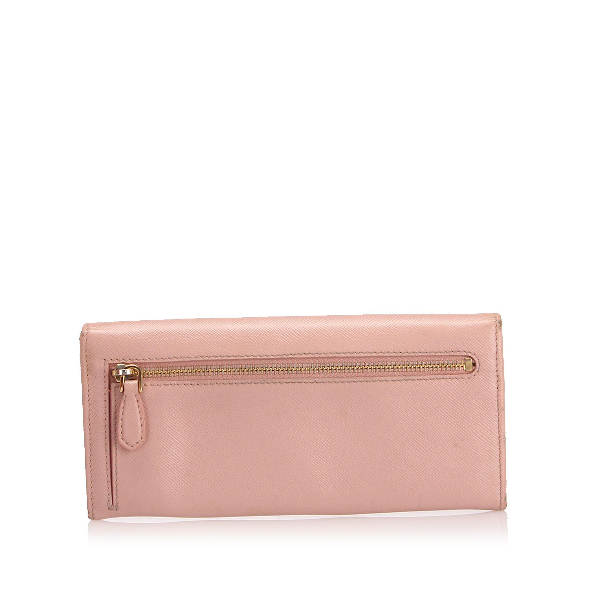 Vintage Prada Saffiano Long Wallet Pink