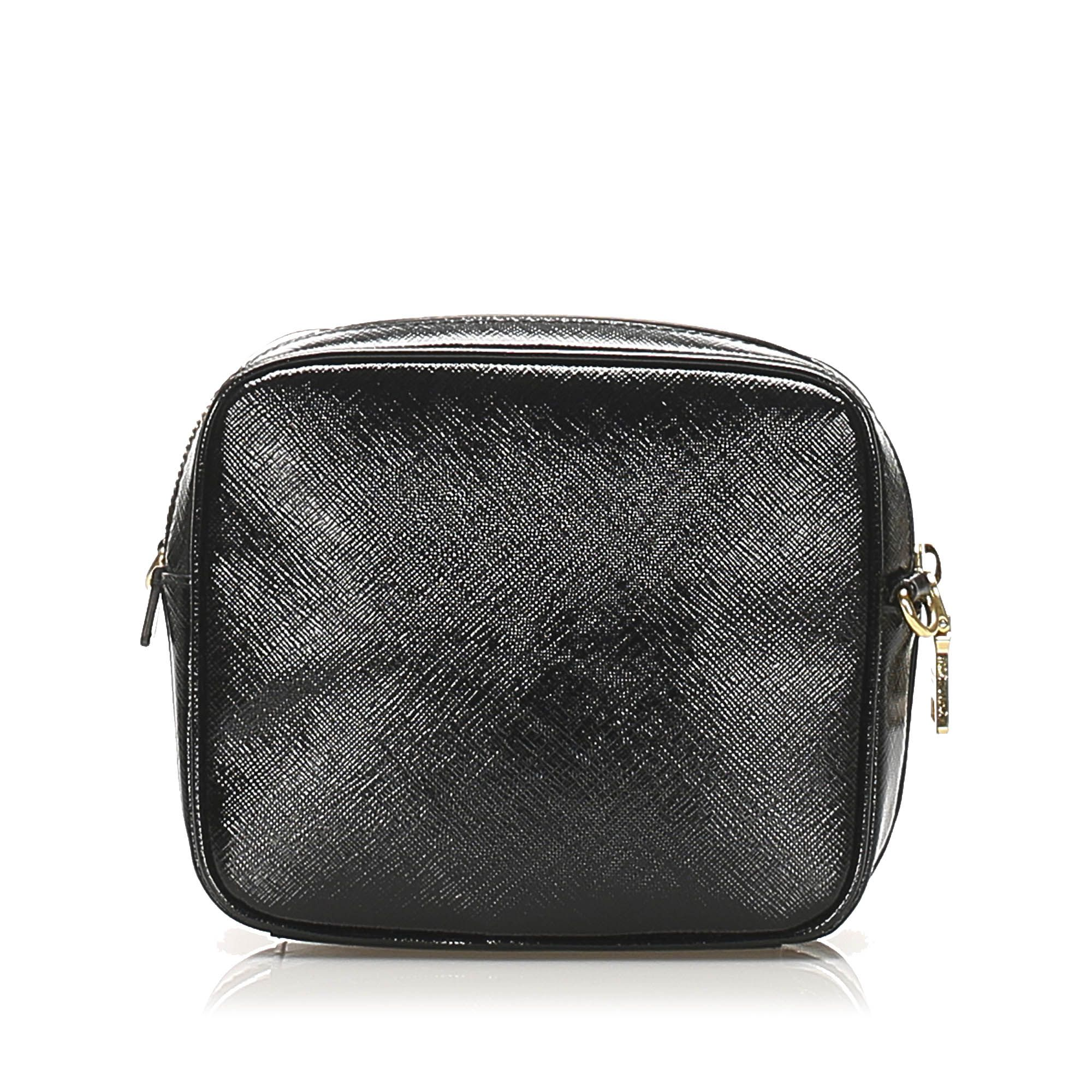 Vintage Prada Saffiano Vernice Crossbody Bag Black