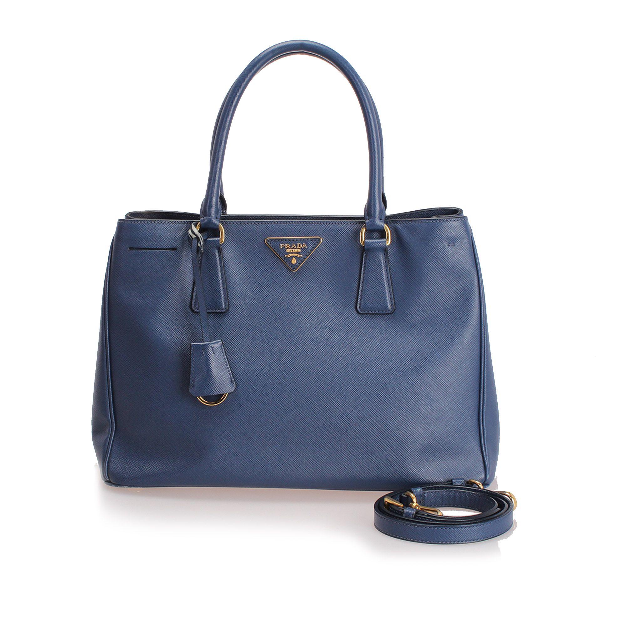 Vintage Prada Saffiano Galleria Satchel Blue
