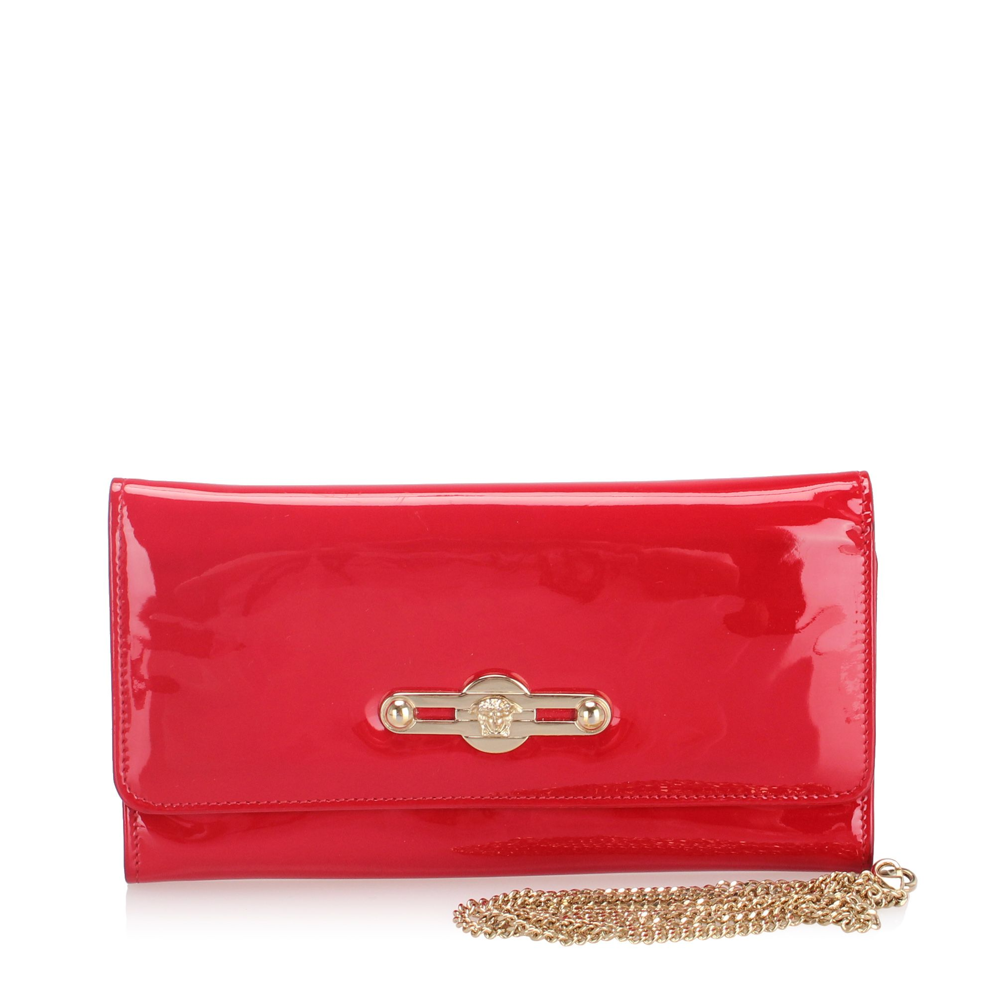 Vintage Versace Patent Leather Wallet on Chain Red