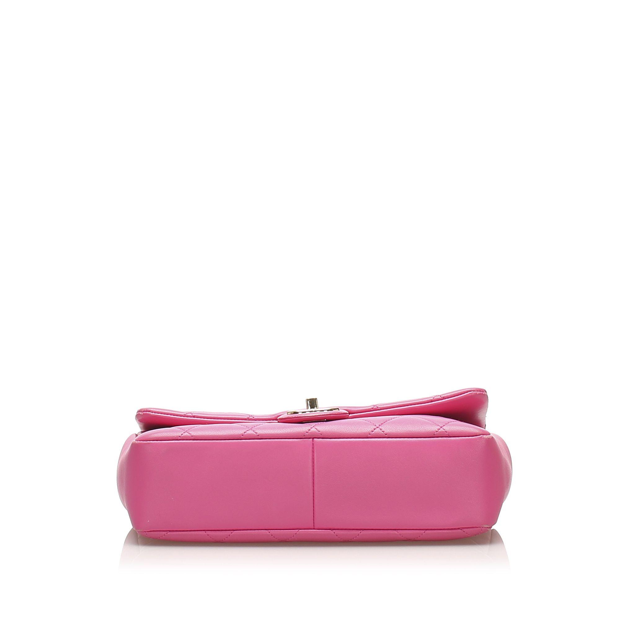Vintage Chanel Medium Lambskin Leather Bicolor Chain Flap Bag Pink