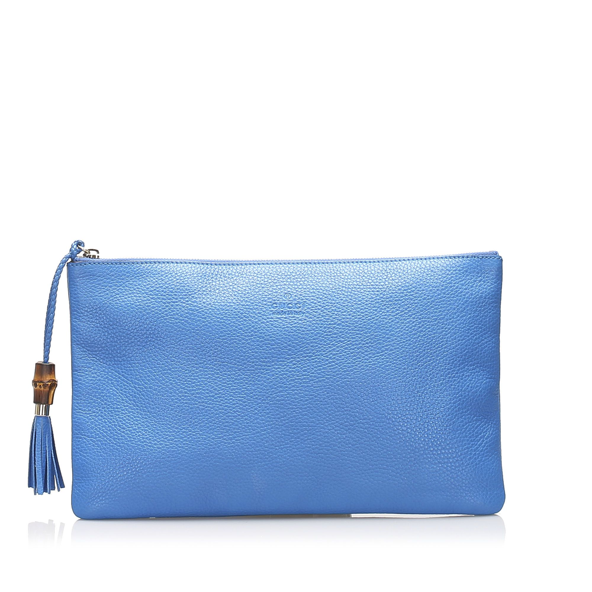 Vintage Gucci Bamboo Leather Clutch Bag Blue