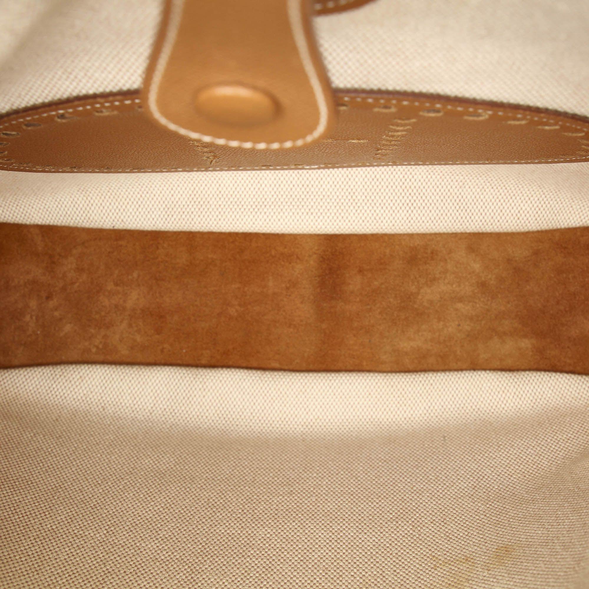 Vintage Hermes Toile Evelyne GM White