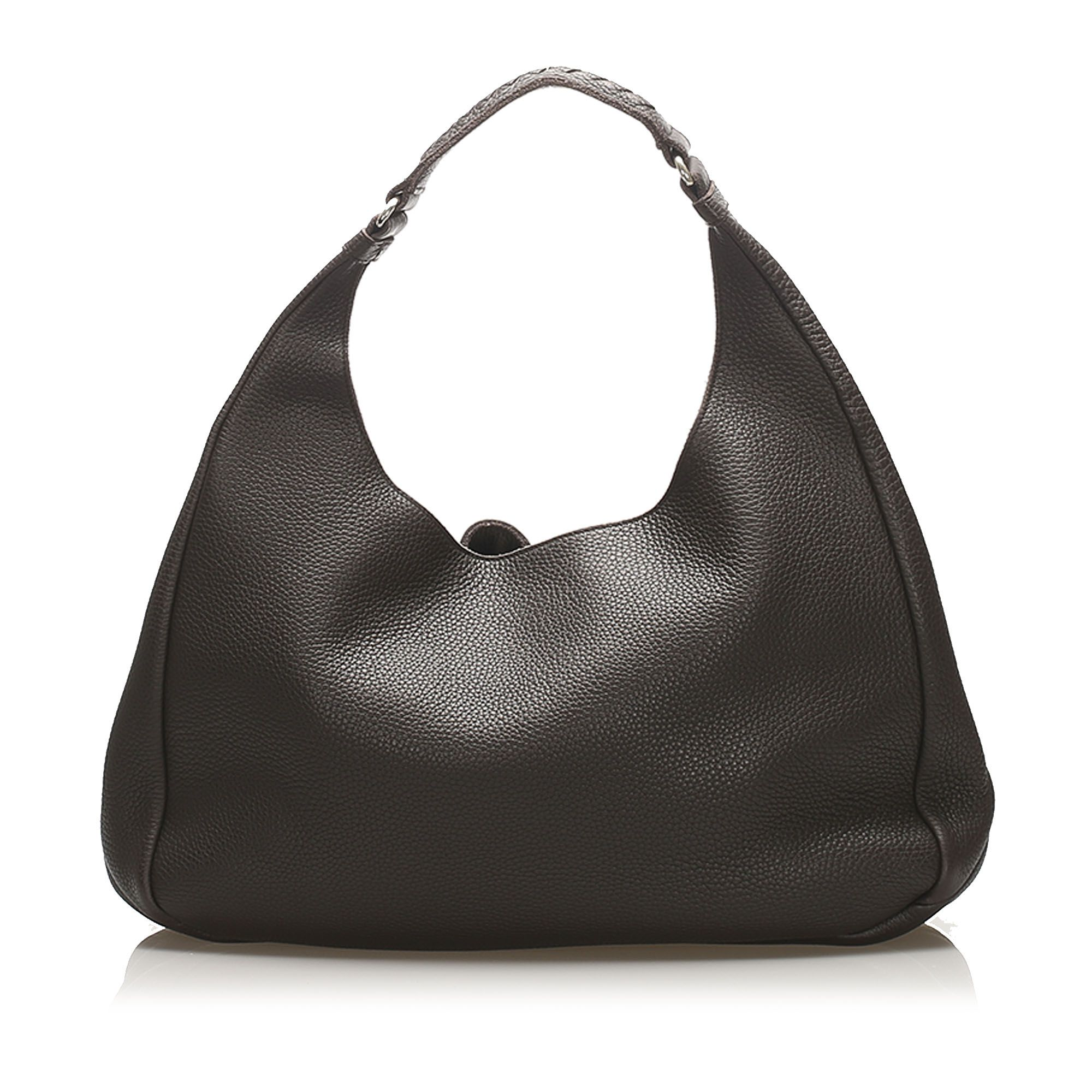 Vintage Bottega Veneta Campana Leather Hobo Bag Brown