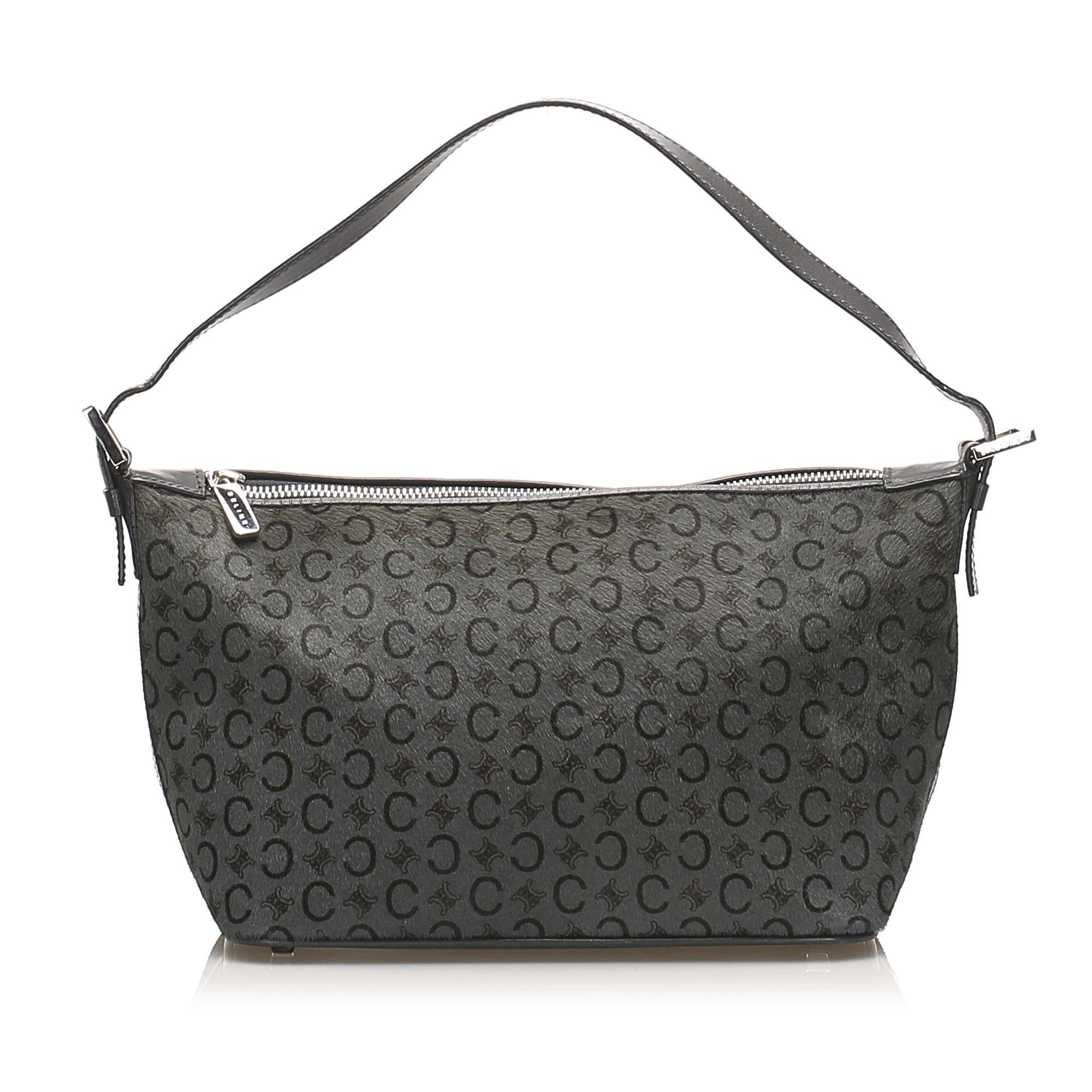 Vintage Celine C Macadam Canvas Shoulder Bag Gray