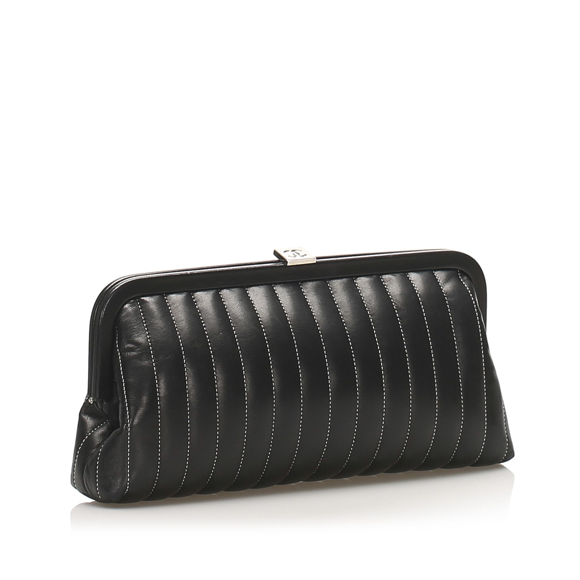 Vintage Chanel Mademoiselle Stitch Lambskin Leather Clutch Bag Black