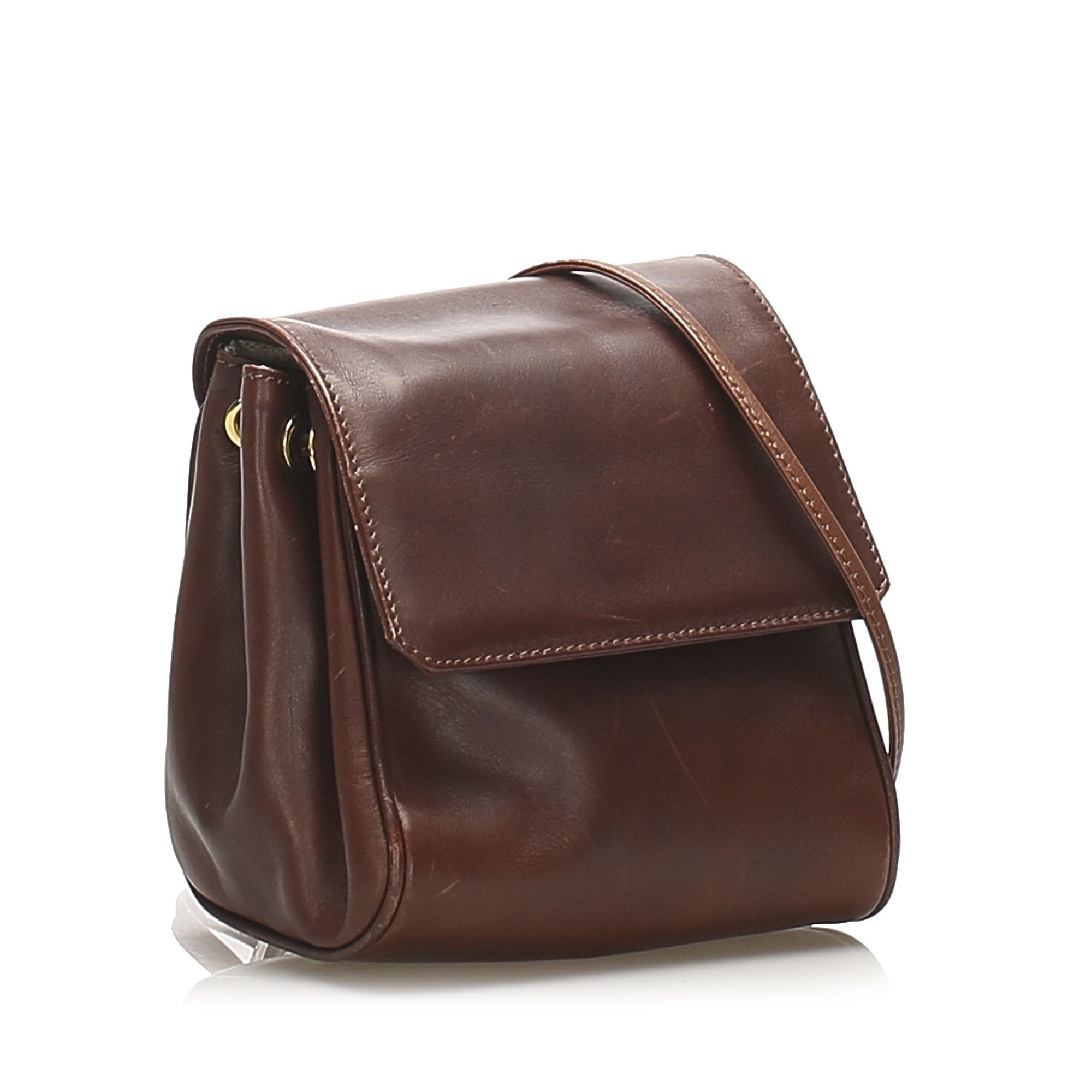 Vintage Dior Leather Crossbody Bag Brown