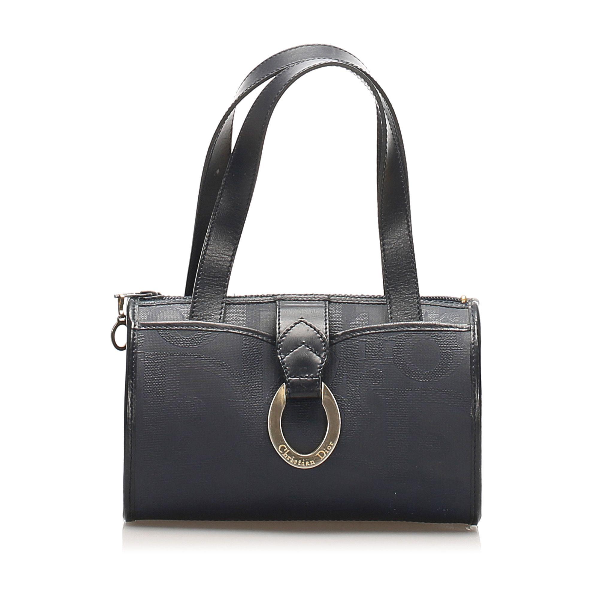 Vintage Dior Dior Oblique PVC Handbag Blue
