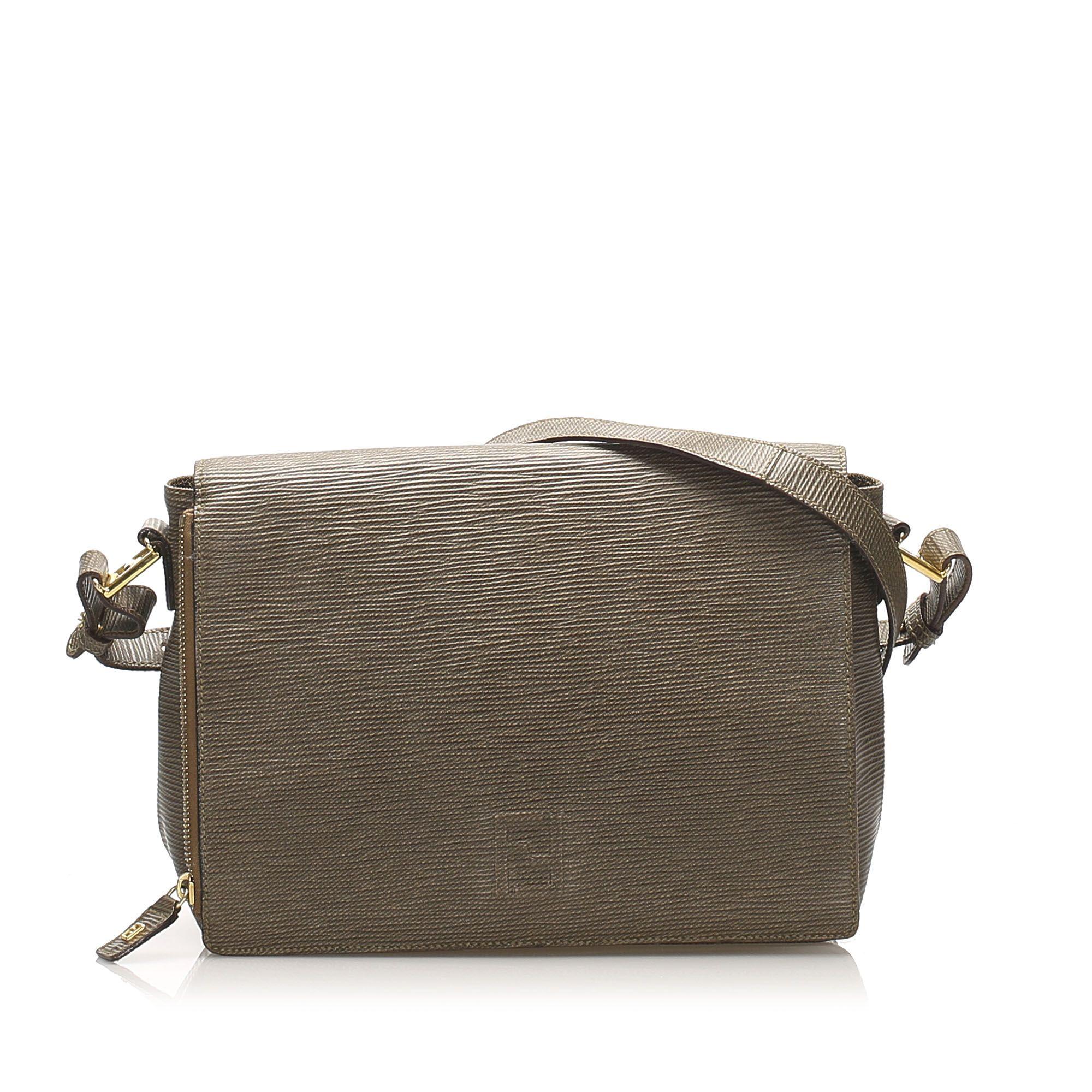 Vintage Fendi Leather Crossbody Bag Brown