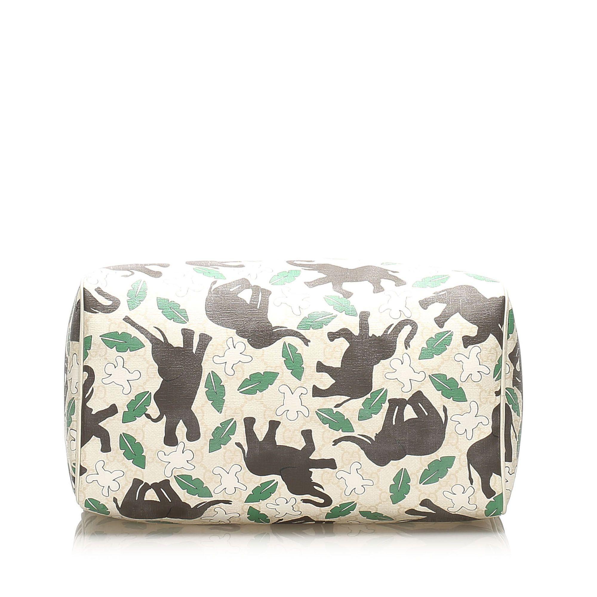 Vintage Gucci Elephant Print Joy PVC Boston Bag White