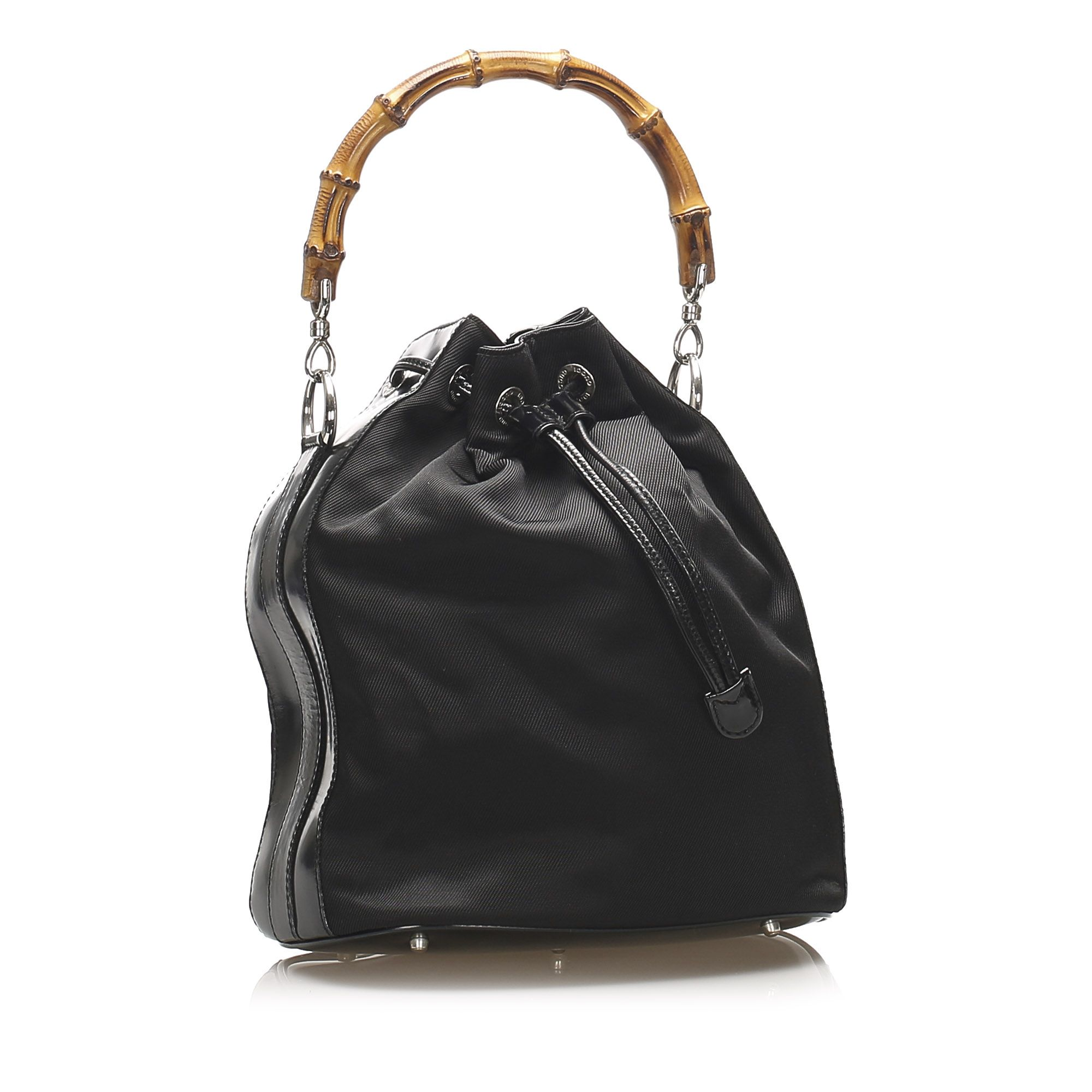 Vintage Gucci Bamboo Canvas Bucket Bag Black