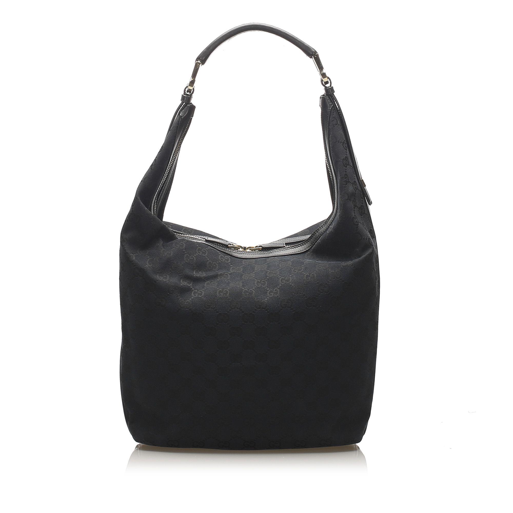 Vintage Gucci GG Canvas Shoulder Bag Black