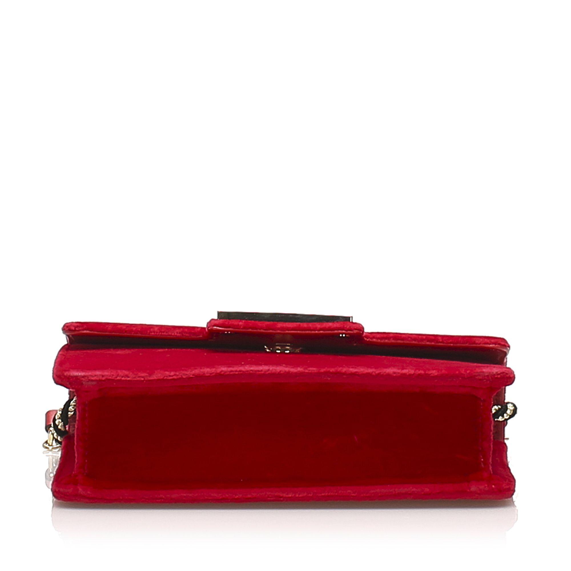 Vintage Gucci Broadway Velvet Crossbody Bag Red