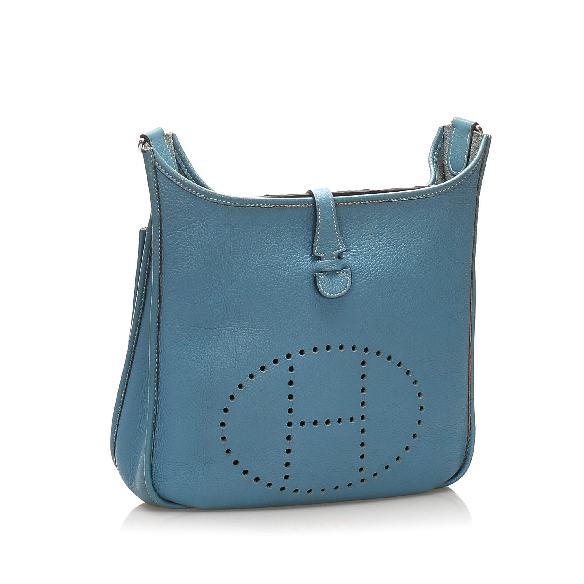 Vintage Hermes Togo Evelyne PM Blue